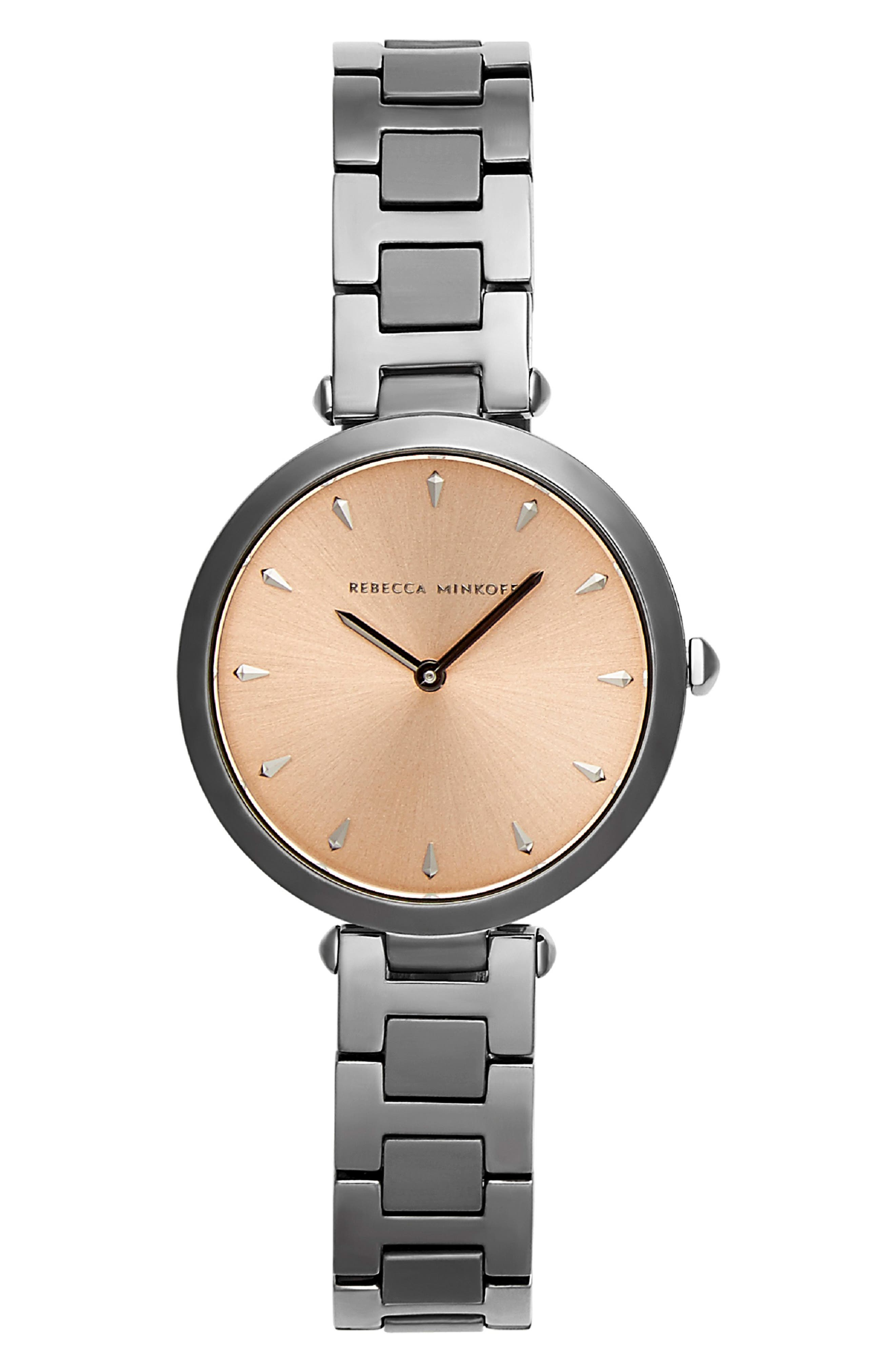 REBECCA MINKOFF, T-Bar Bracelet Strap Watch, 33mm, Main thumbnail 1, color, GREY/ ROSE GOLD/ GREY