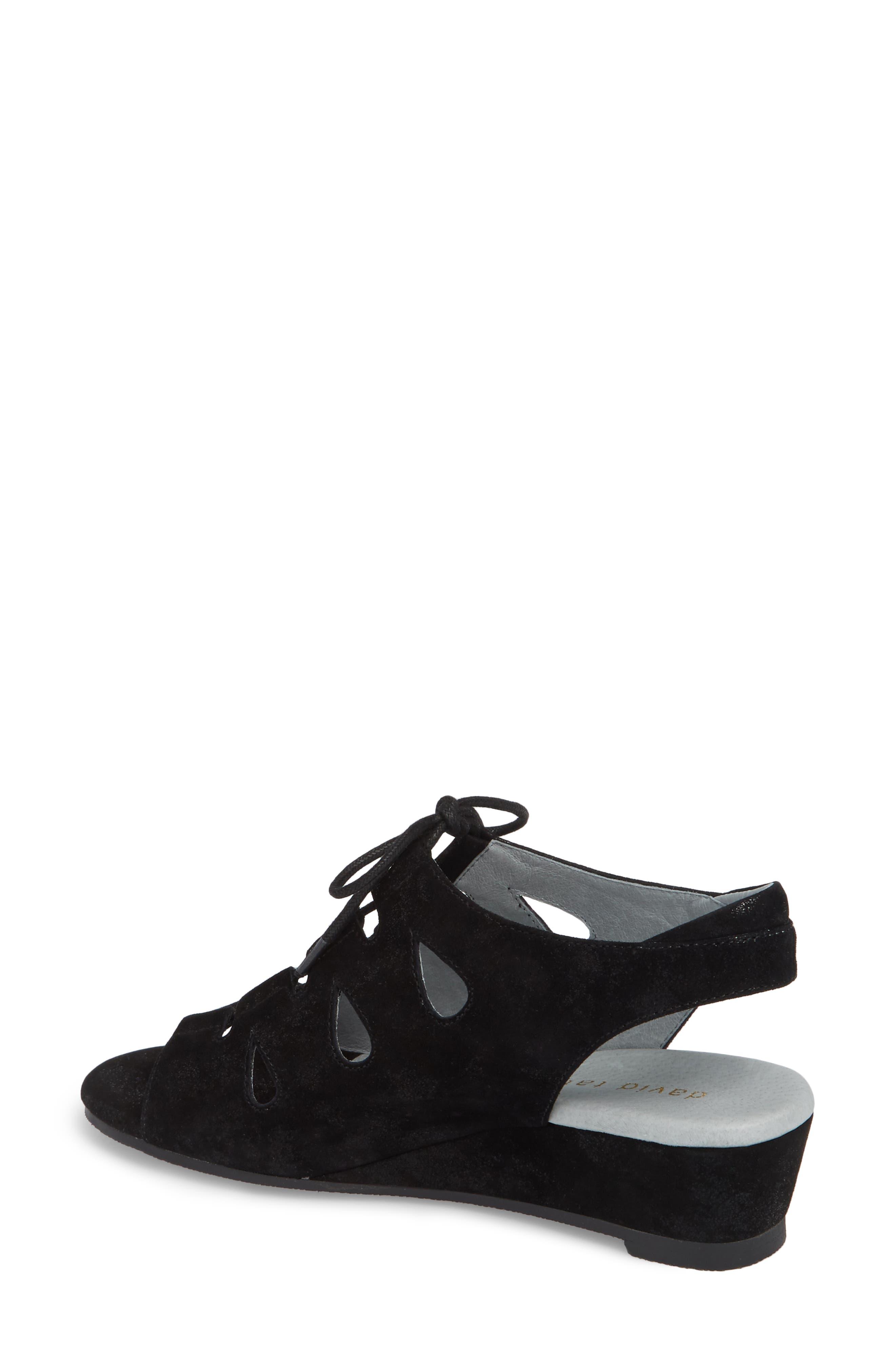 DAVID TATE, Rich Wedge Sandal, Alternate thumbnail 2, color, BLACK SUEDE