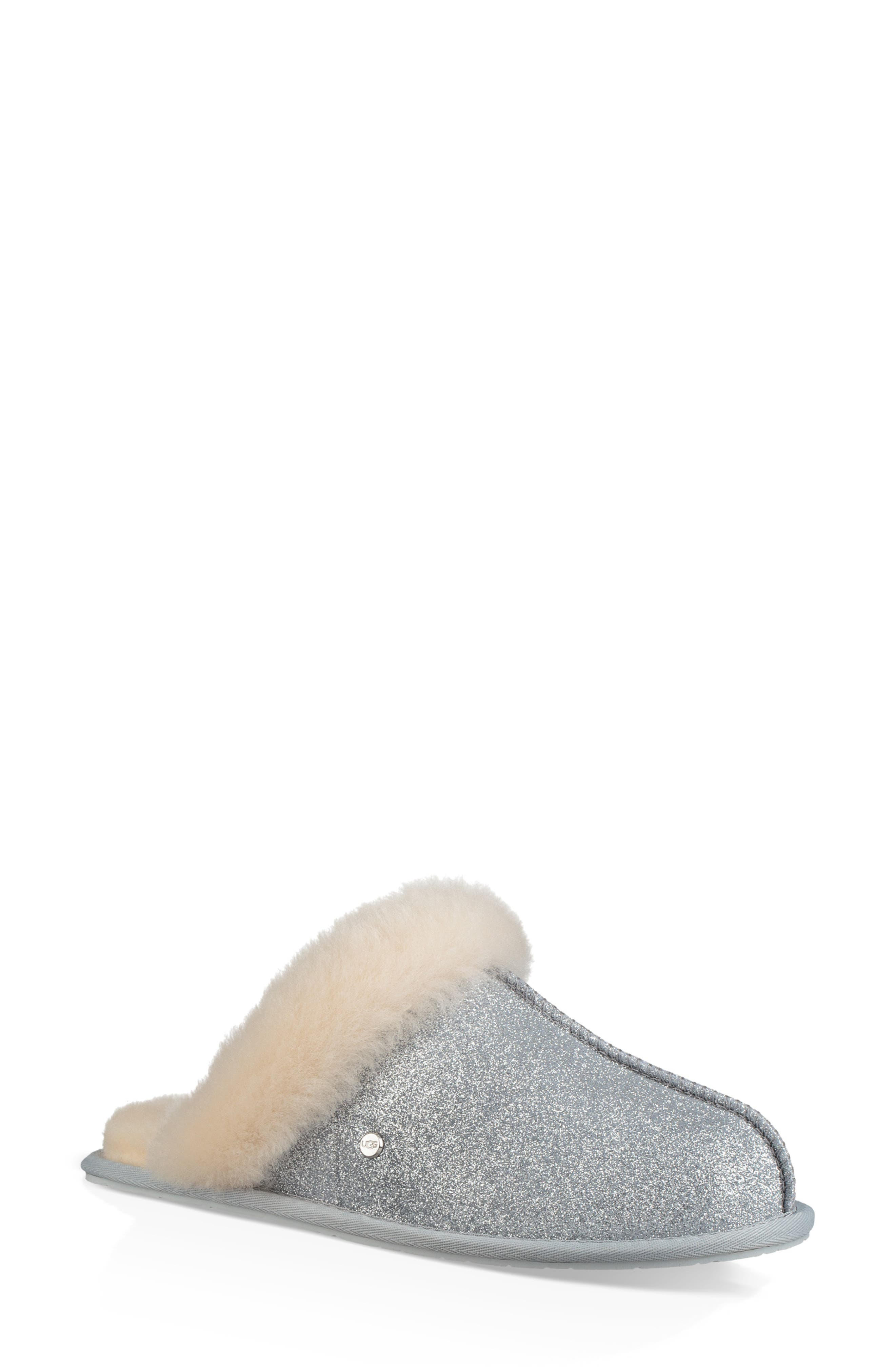 UGG<SUP>®</SUP>, Scuffette II Sparkle Genuine Shearling Slipper, Main thumbnail 1, color, SILVER