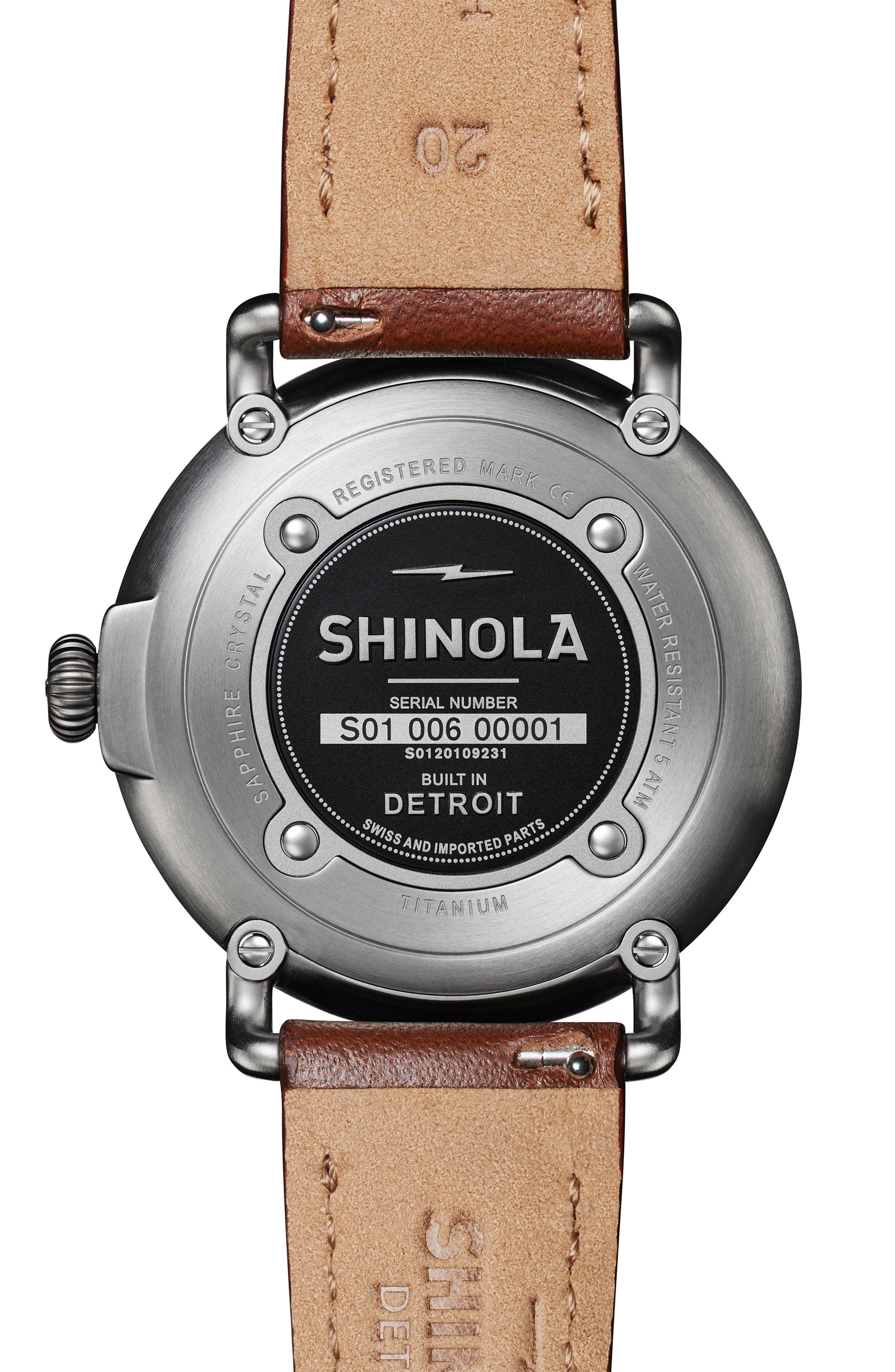SHINOLA, 'The Runwell' Leather Strap Watch, 41mm, Alternate thumbnail 2, color, DARK COGNAC/ GUNMETAL/ GREY
