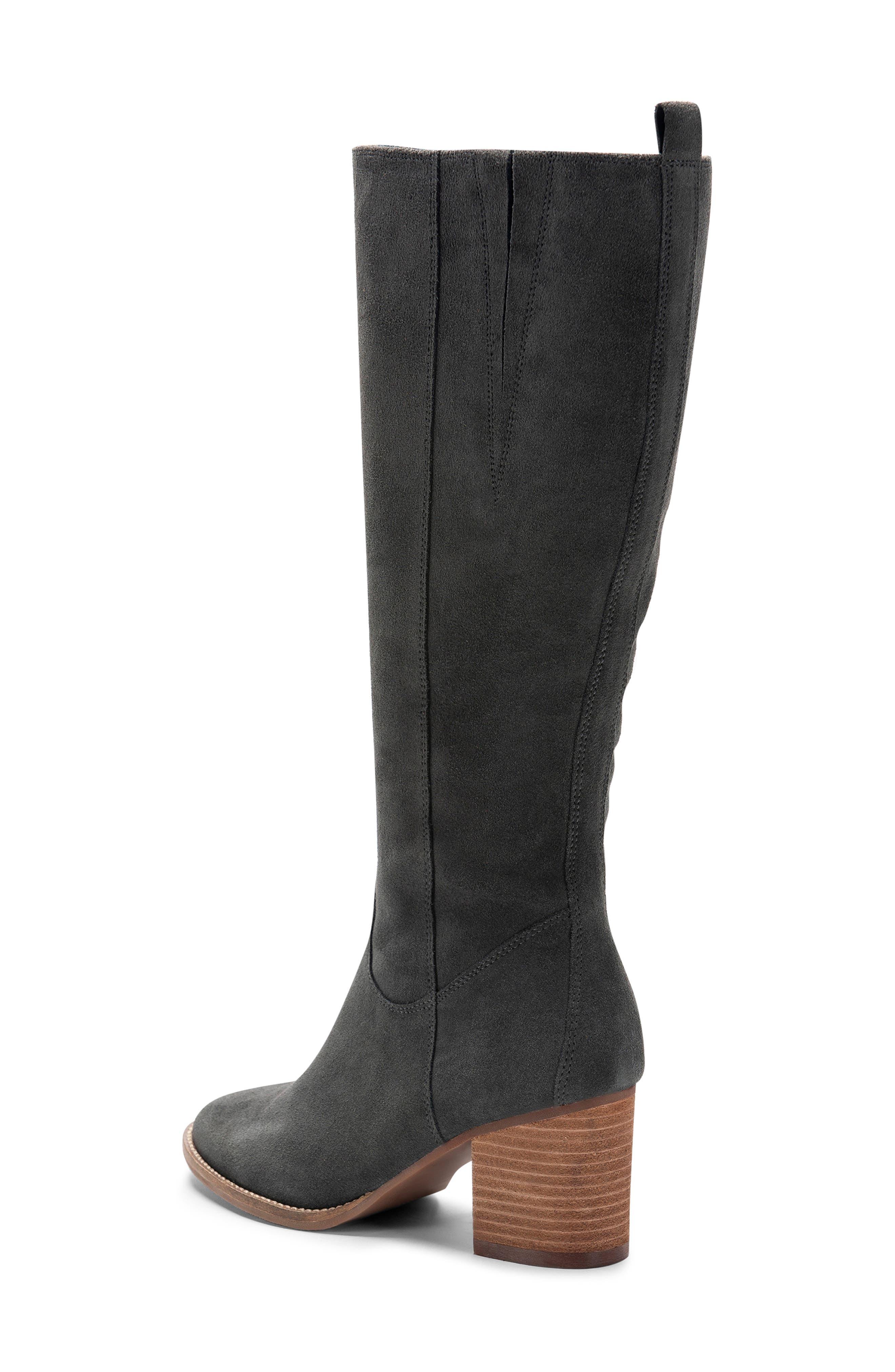 BLONDO, Nikki Waterproof Knee High Waterproof Boot, Alternate thumbnail 2, color, DARK GREY SUEDE