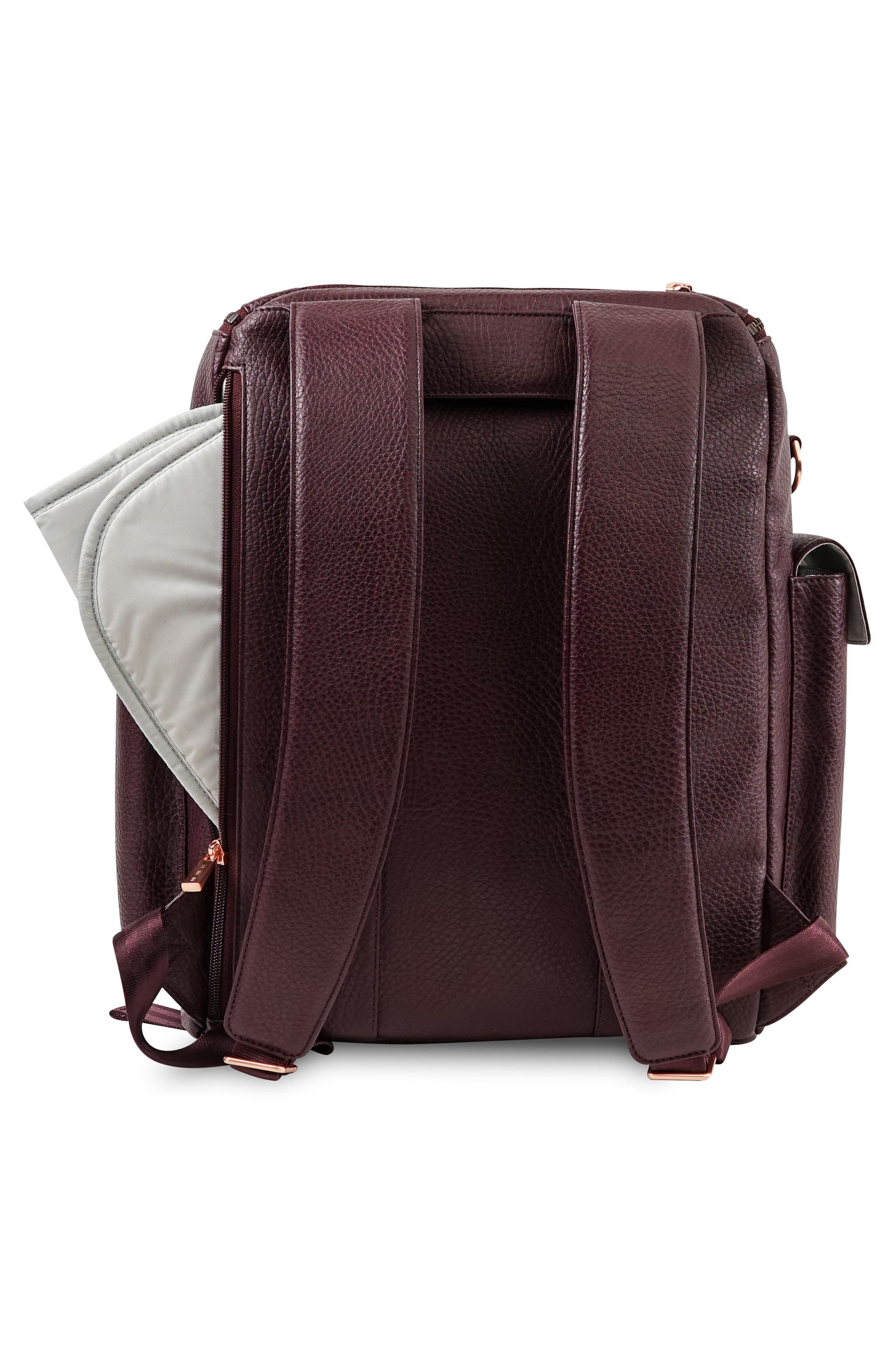 JU-JU-BE, Ever Collection Forever Faux Leather Diaper Backpack, Alternate thumbnail 3, color, PLUM