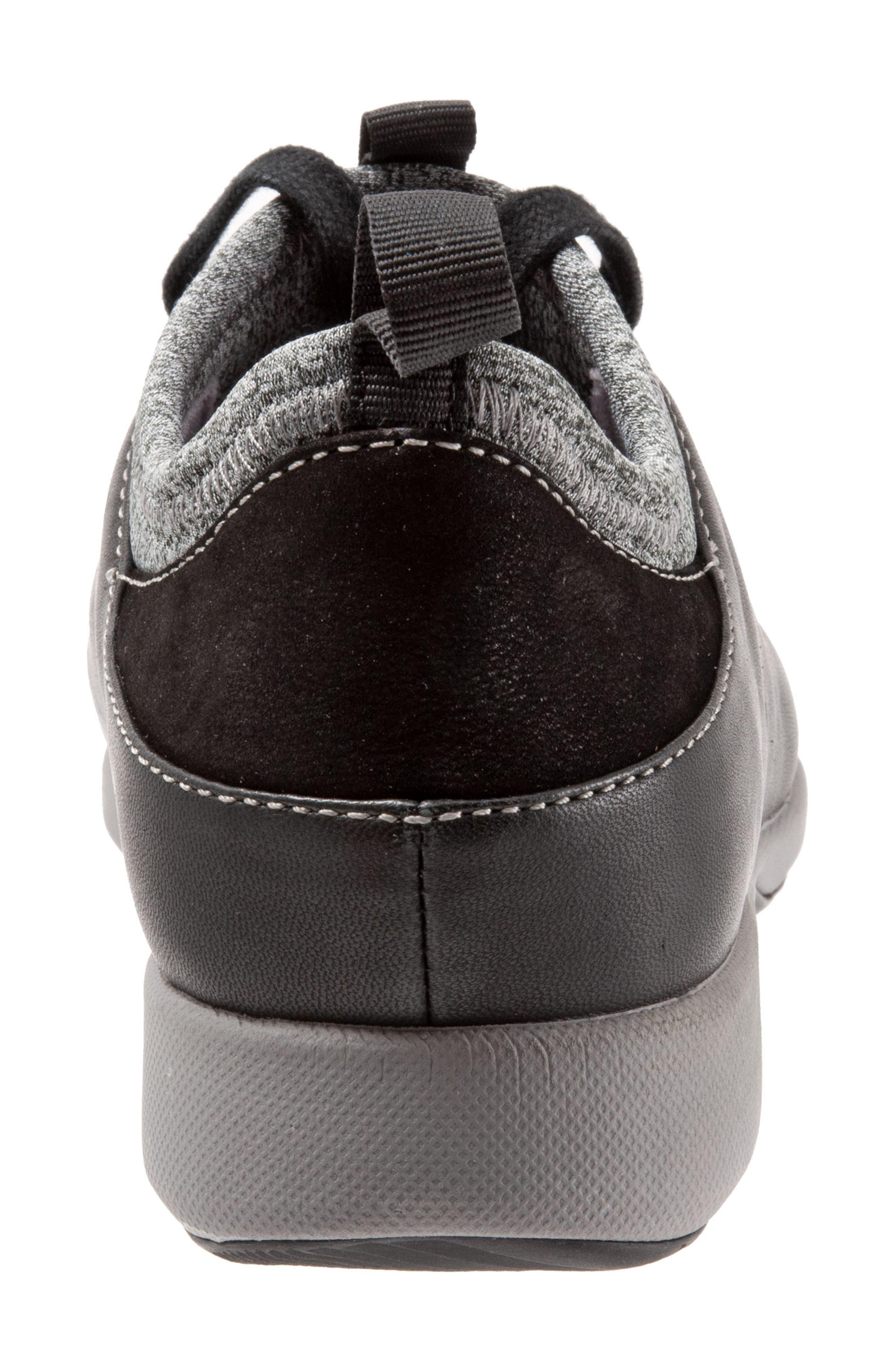 SOFTWALK<SUP>®</SUP>, SAVA Haven Sneaker, Alternate thumbnail 7, color, BLACK/ GREY LEATHER