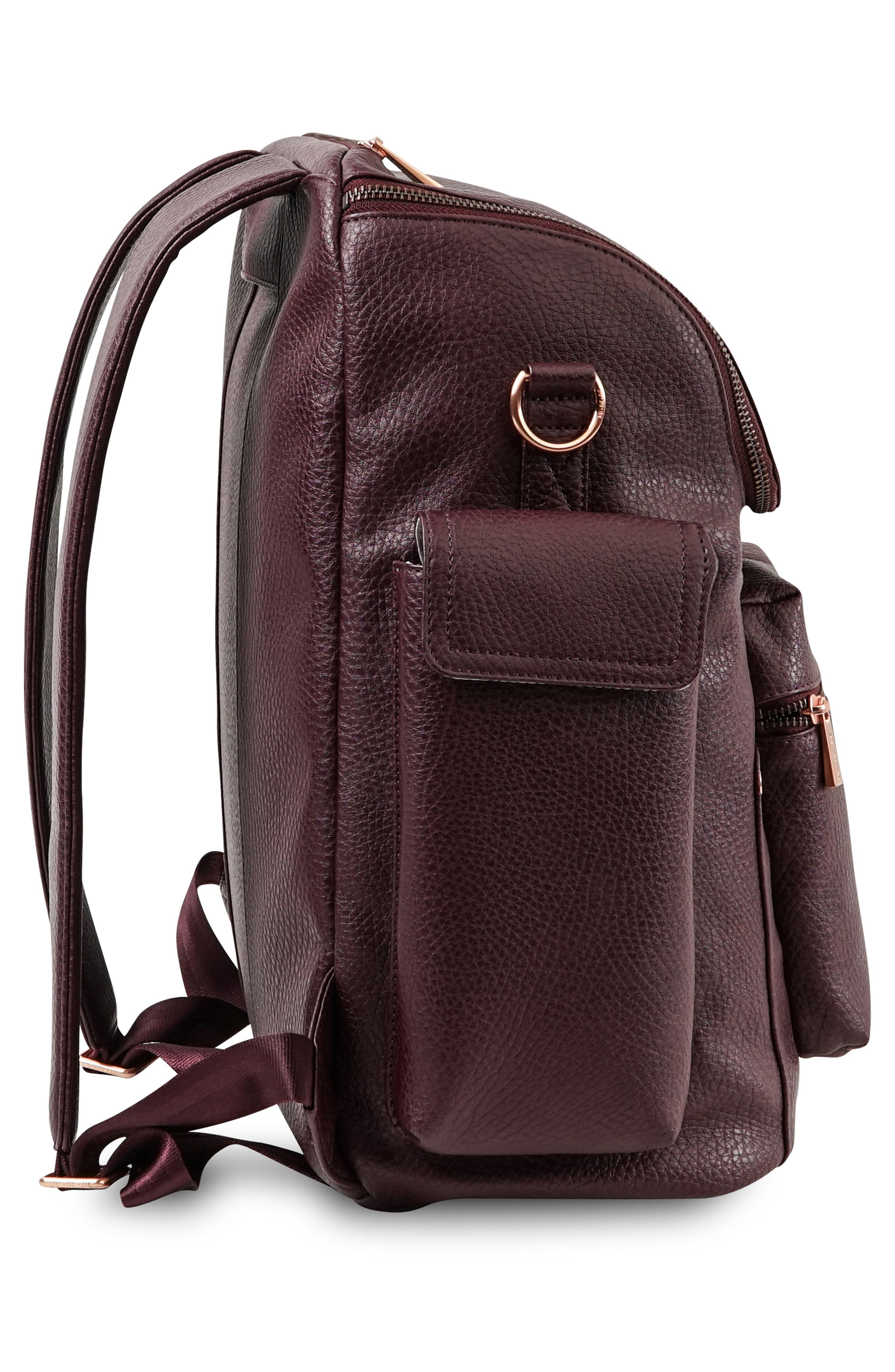 JU-JU-BE, Ever Collection Forever Faux Leather Diaper Backpack, Alternate thumbnail 4, color, PLUM