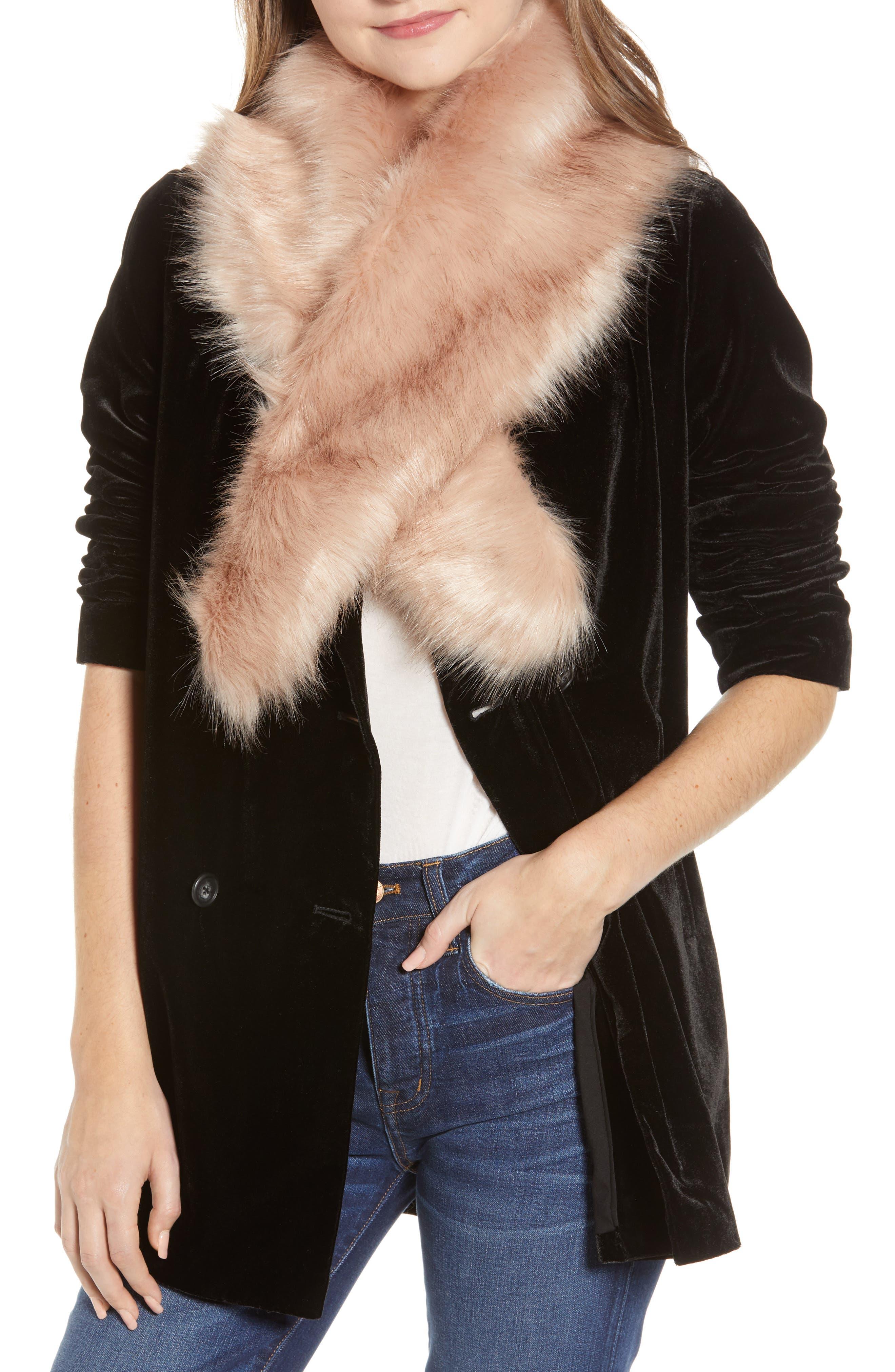 SOLE SOCIETY Faux Fur Stole, Main, color, BLUSH