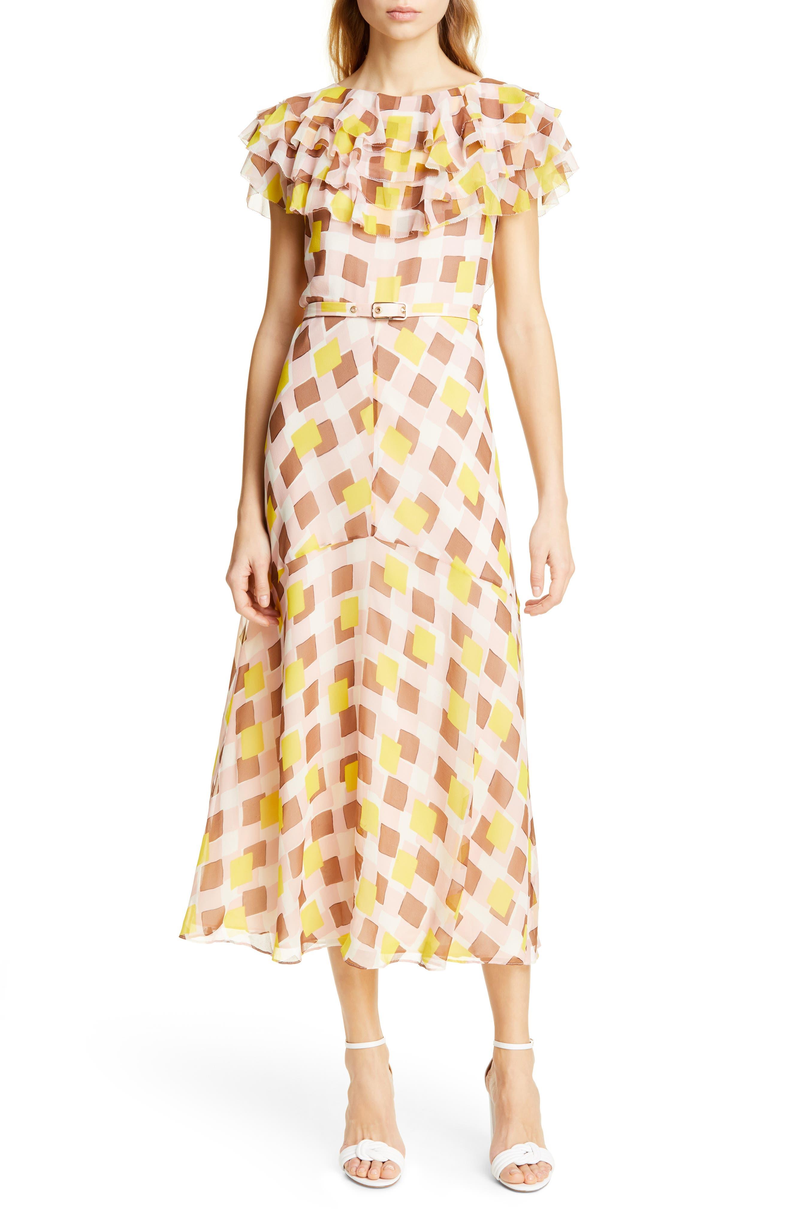 Kate Spade New York Geo Print Ruffle Silk Midi Dress, Pink