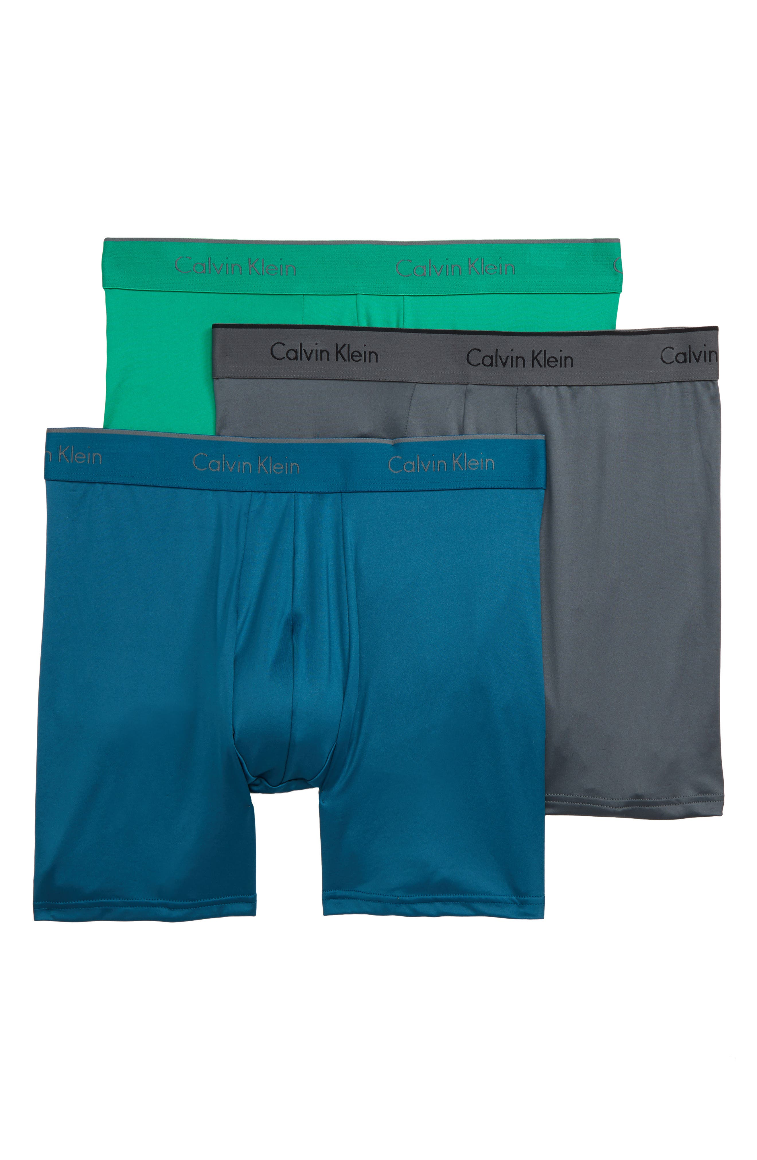CALVIN KLEIN 3-Pack Micro Stretch Boxer Briefs, Main, color, IRON GATE/ BLUE/ TOURNEY