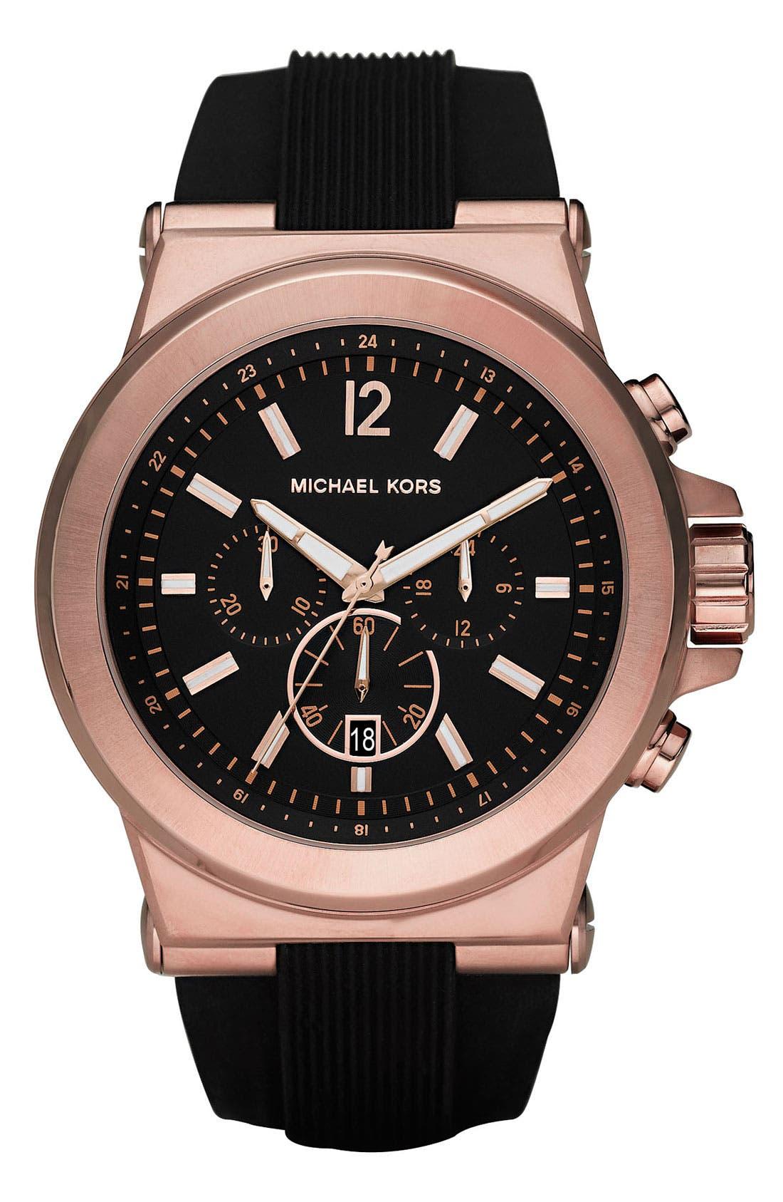 MICHAEL KORS, Chronograph Watch, 45mm, Main thumbnail 1, color, ROSE GOLD/ BLACK