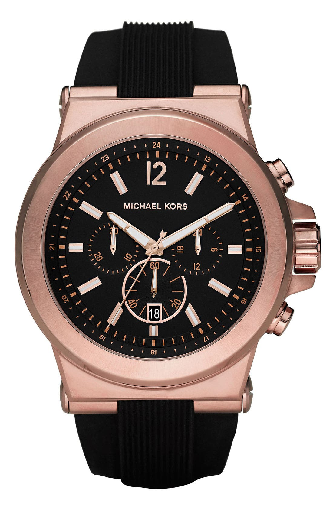 MICHAEL KORS Chronograph Watch, 45mm, Main, color, ROSE GOLD/ BLACK
