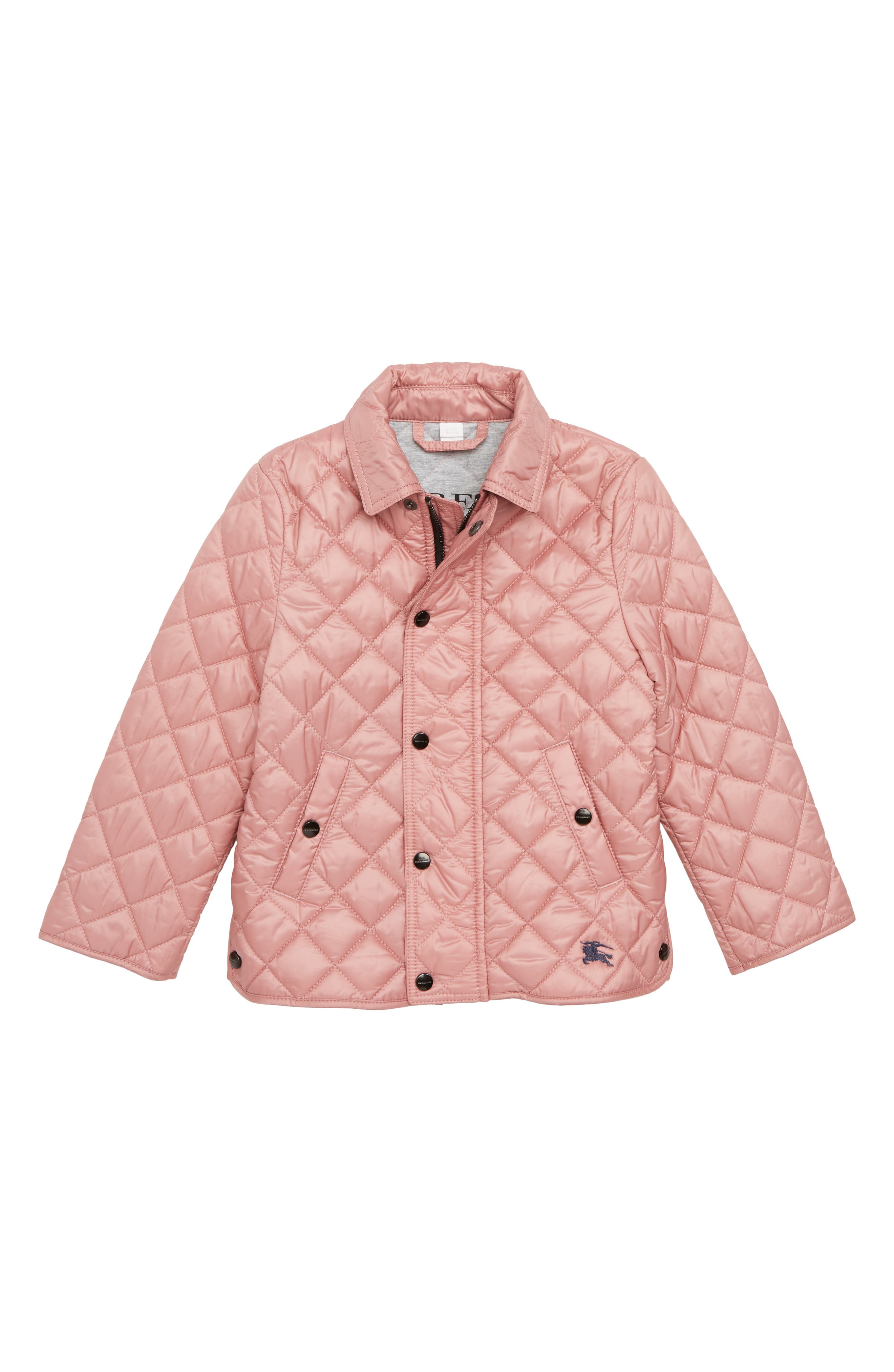 BURBERRY, Diamond Quilted Jacket, Main thumbnail 1, color, PALE ASH ROSE