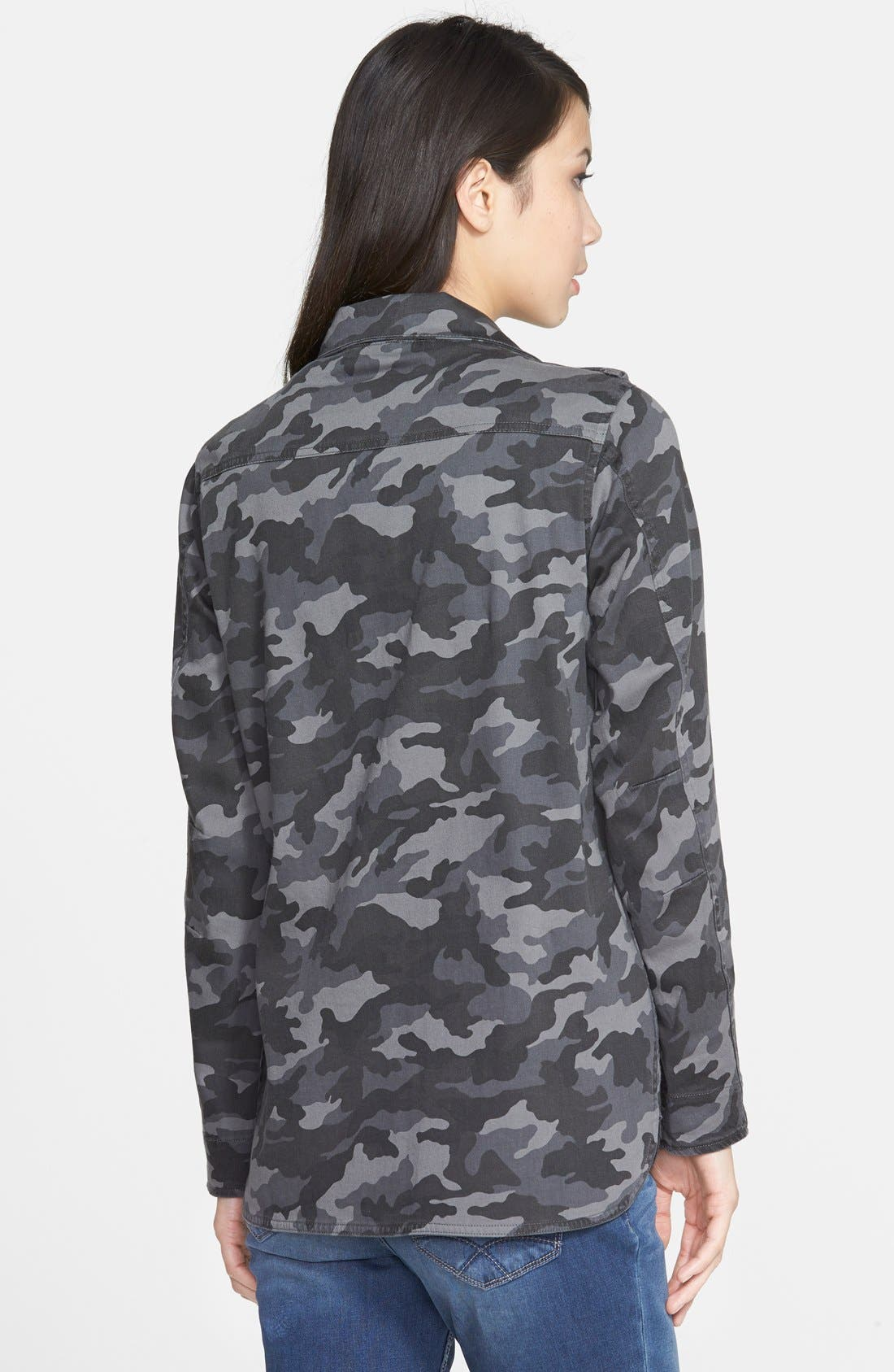 PRESS, Lightweight Stretch Cotton Military Jacket, Alternate thumbnail 4, color, 021
