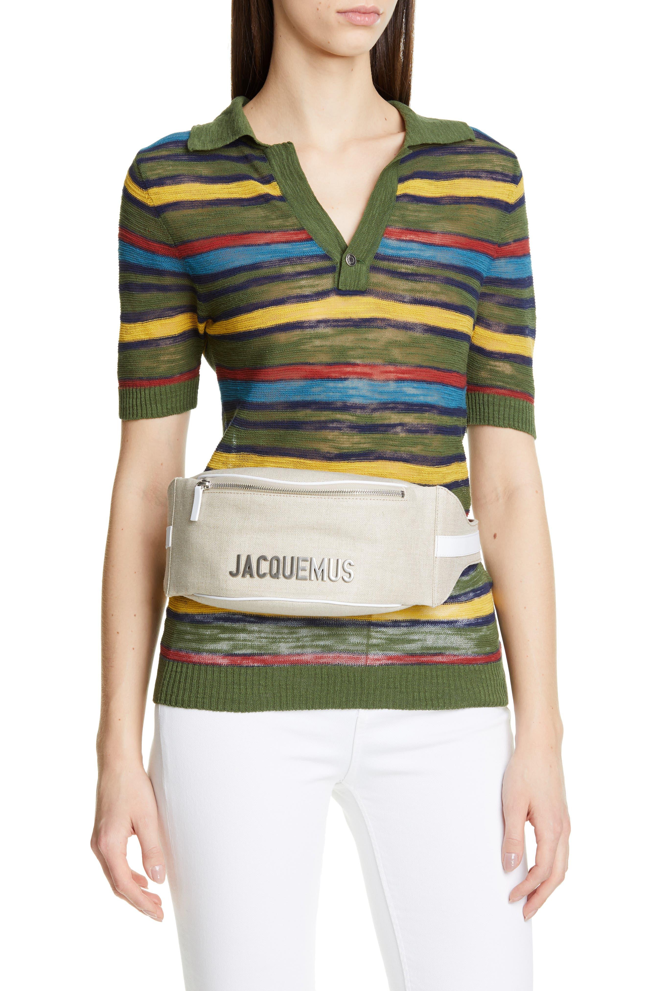 JACQUEMUS, La Banane Belt Bag, Alternate thumbnail 2, color, BEIGE FABRIC