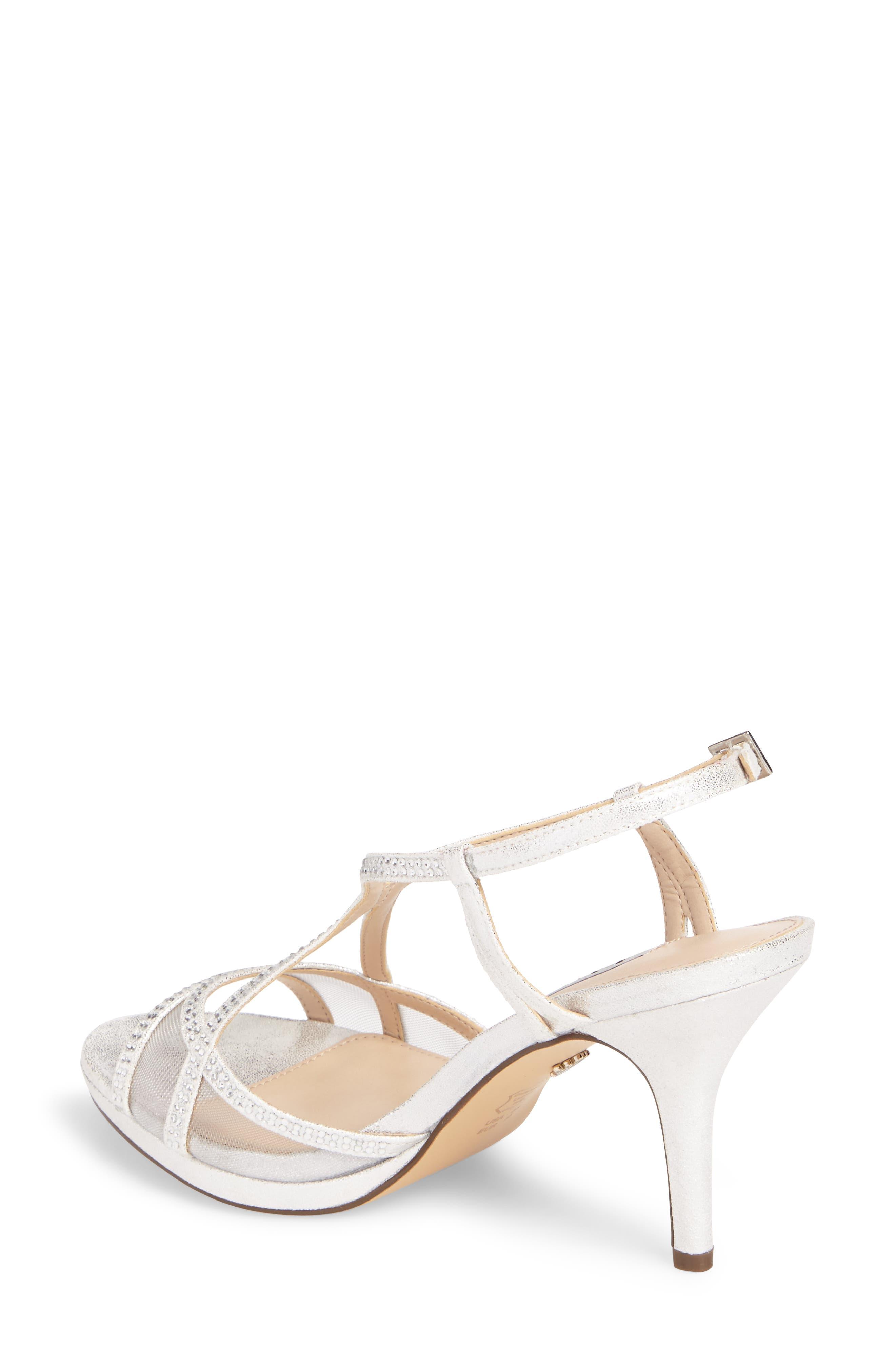 NINA, Blossom Crystal Embellished Sandal, Alternate thumbnail 2, color, SILVER FABRIC