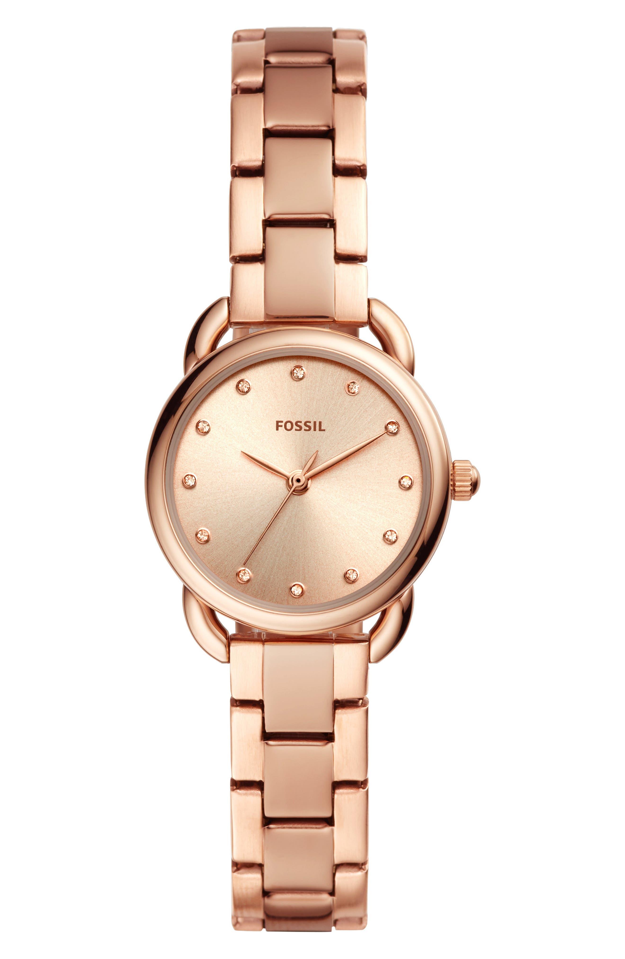 FOSSIL, Mini Tailor Bracelet Watch, 26mm, Main thumbnail 1, color, ROSE GOLD