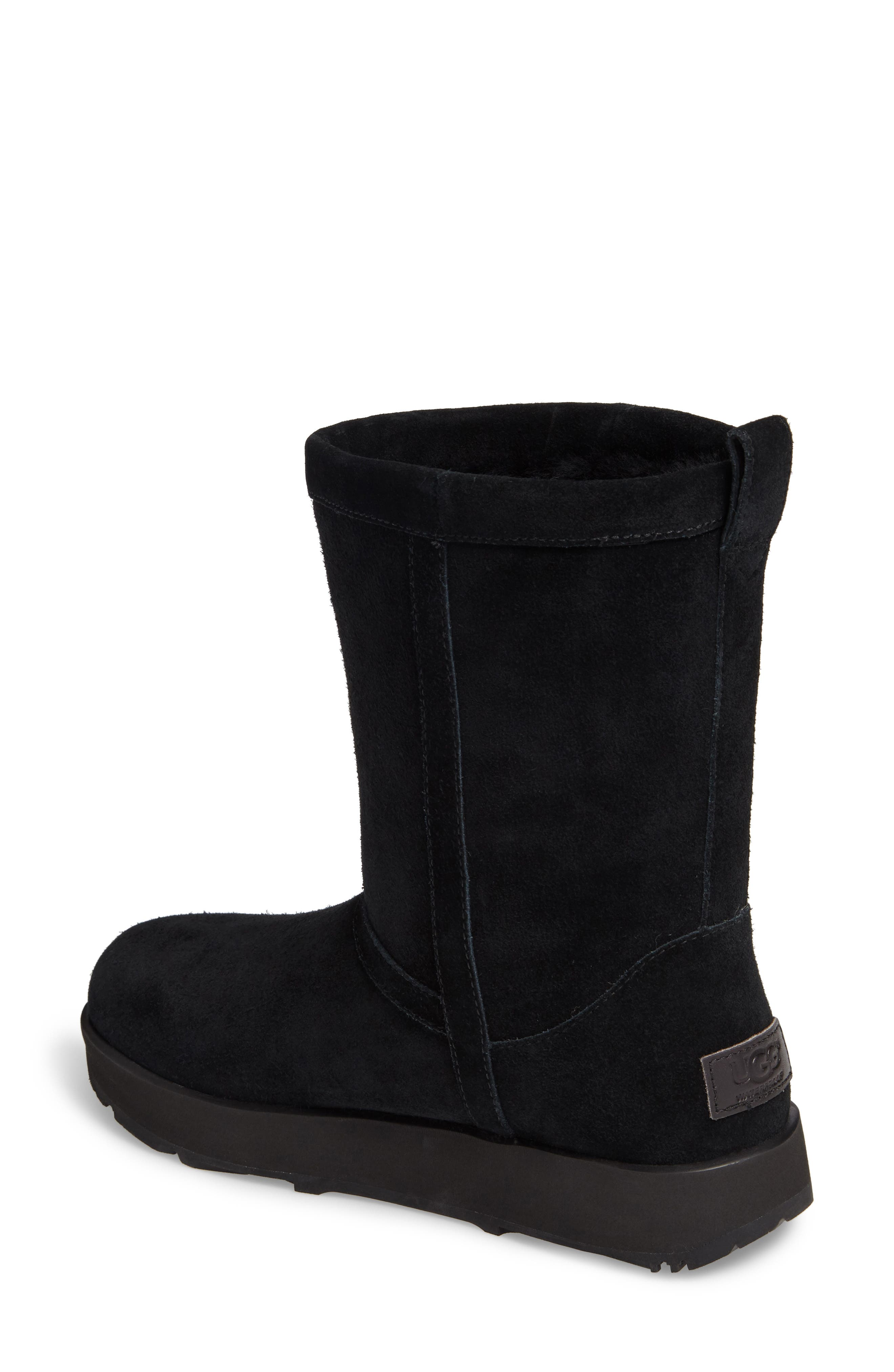 UGG<SUP>®</SUP>, Classic Short Waterproof Boot, Alternate thumbnail 2, color, BLACK SUEDE