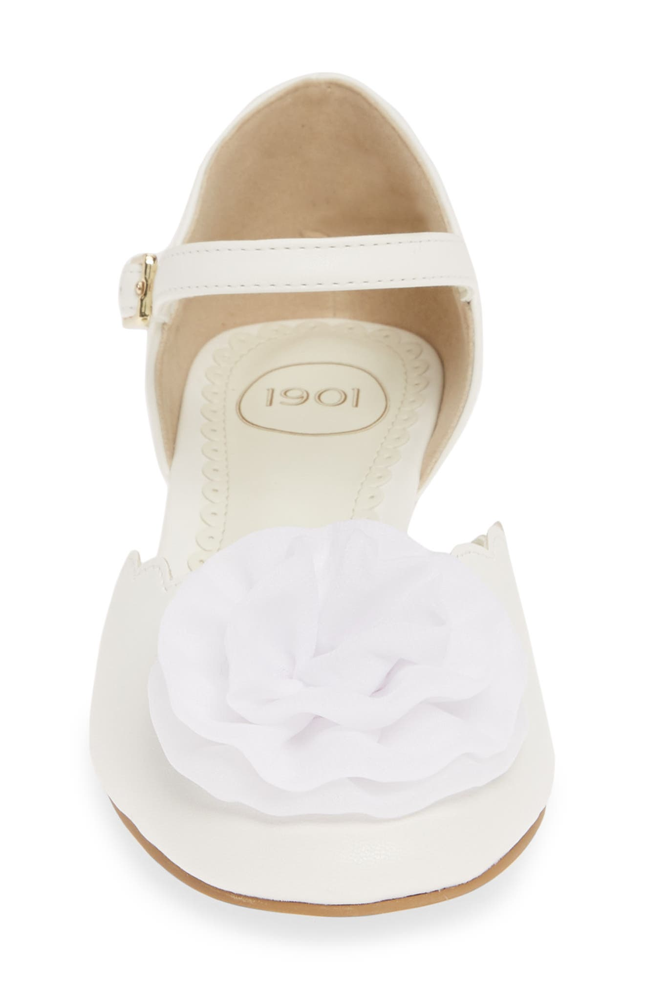 1901, Low Wedge Pump, Alternate thumbnail 4, color, WHITE FAUX LEATHER