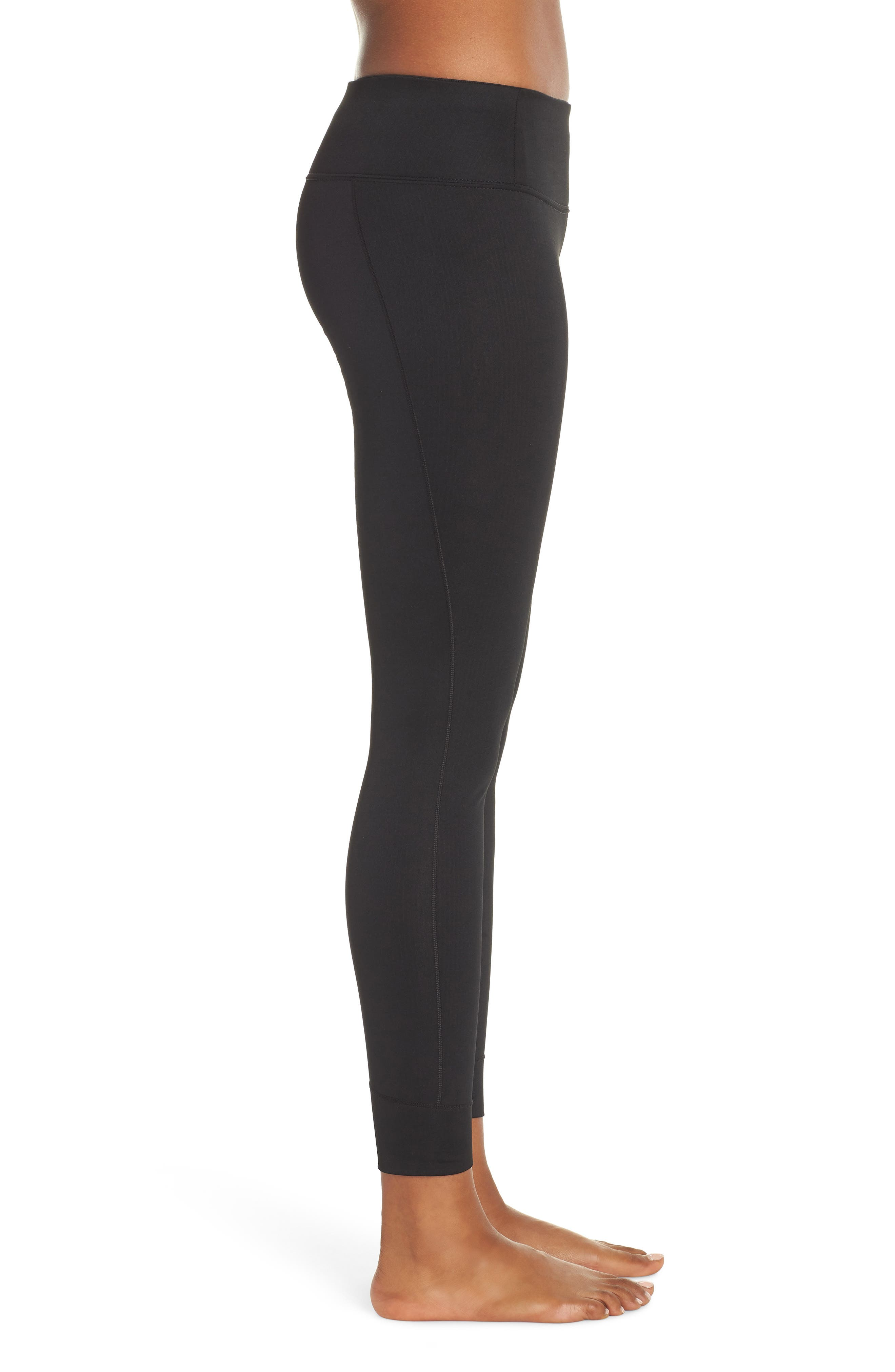 PATAGONIA, Capilene Midweight Base Layer Tights, Alternate thumbnail 4, color, BLACK