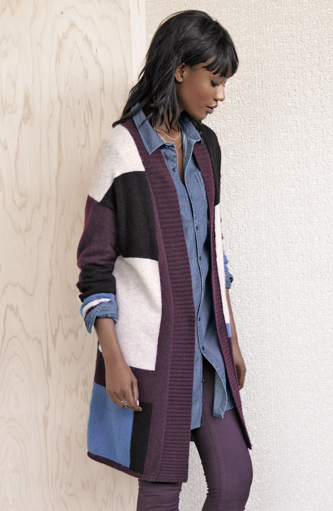 CASLON<SUP>®</SUP>, Patterned Long Cardigan, Alternate thumbnail 4, color, 050