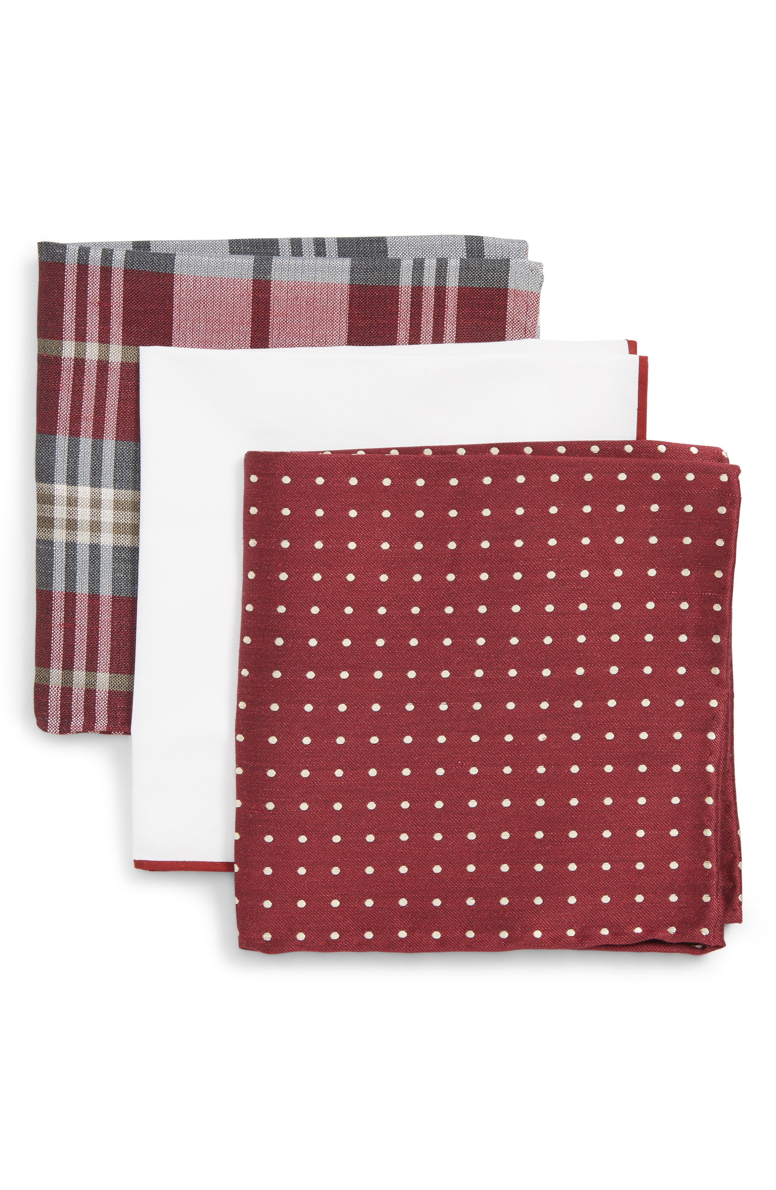 THE TIE BAR, 3-Pack Pocket Squares, Main thumbnail 1, color, BURGUNDY