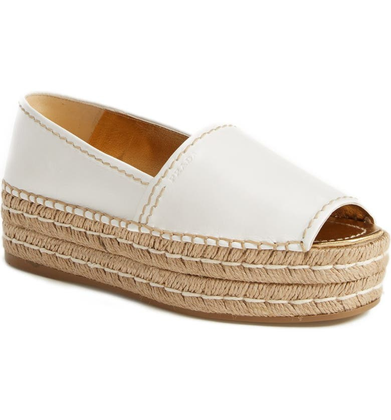 3a9cf45622d6 Prada Peep Toe Leather Espadrille (Women)