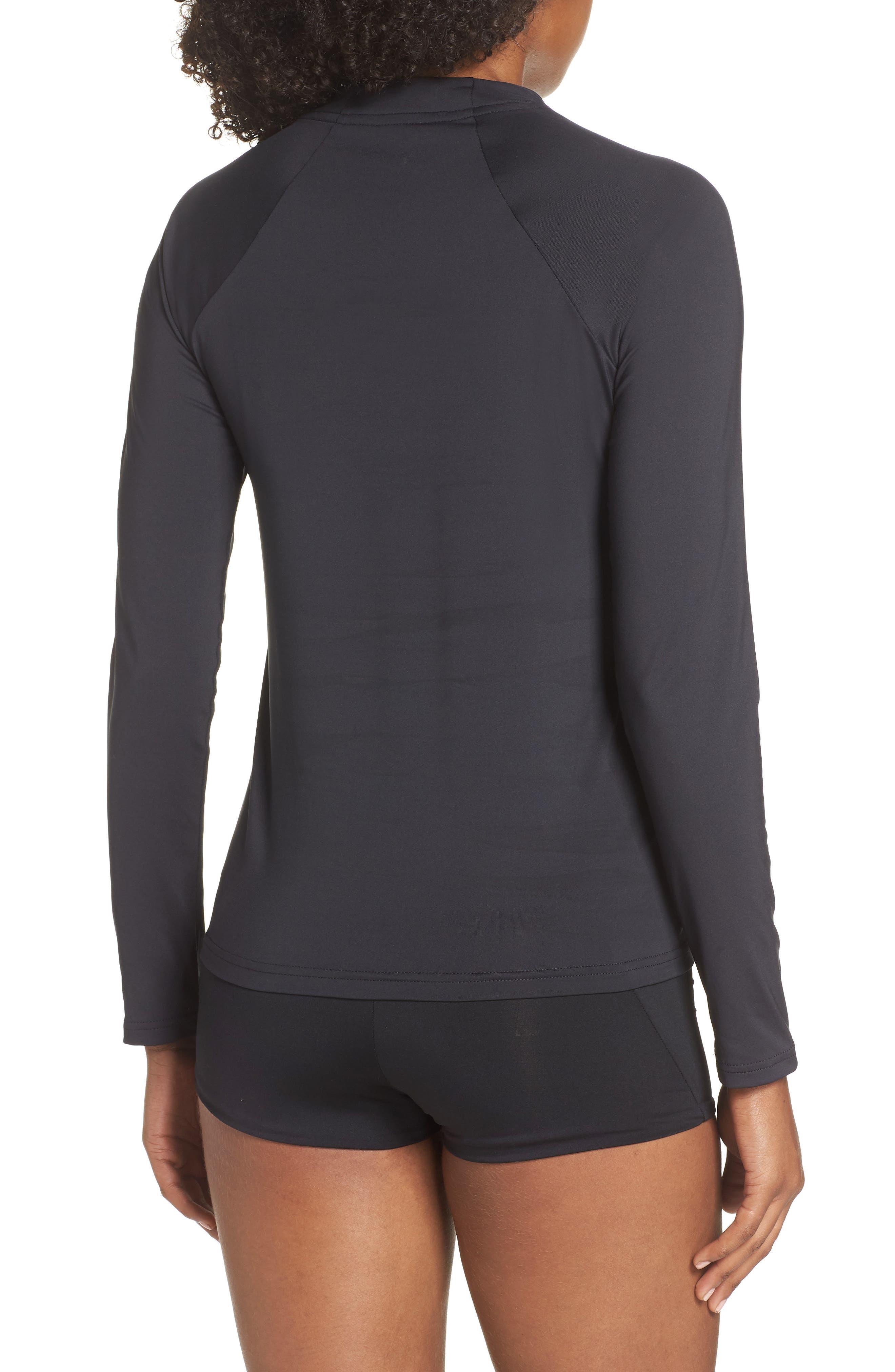 NIKE, Long Sleeve Hydroguard Shirt, Alternate thumbnail 2, color, BLACK