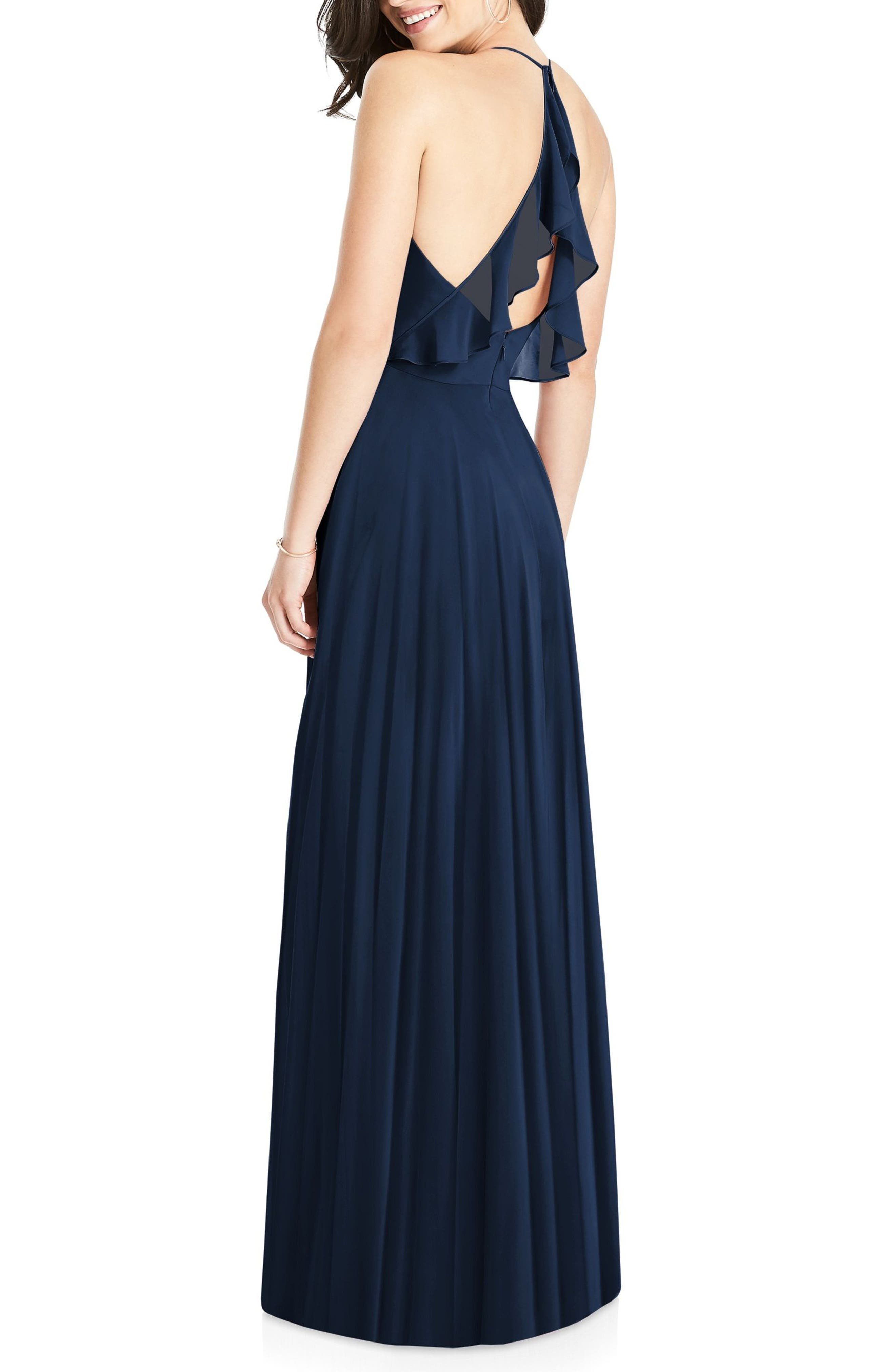 DESSY COLLECTION, Ruffle Back Chiffon Gown, Alternate thumbnail 2, color, MIDNIGHT
