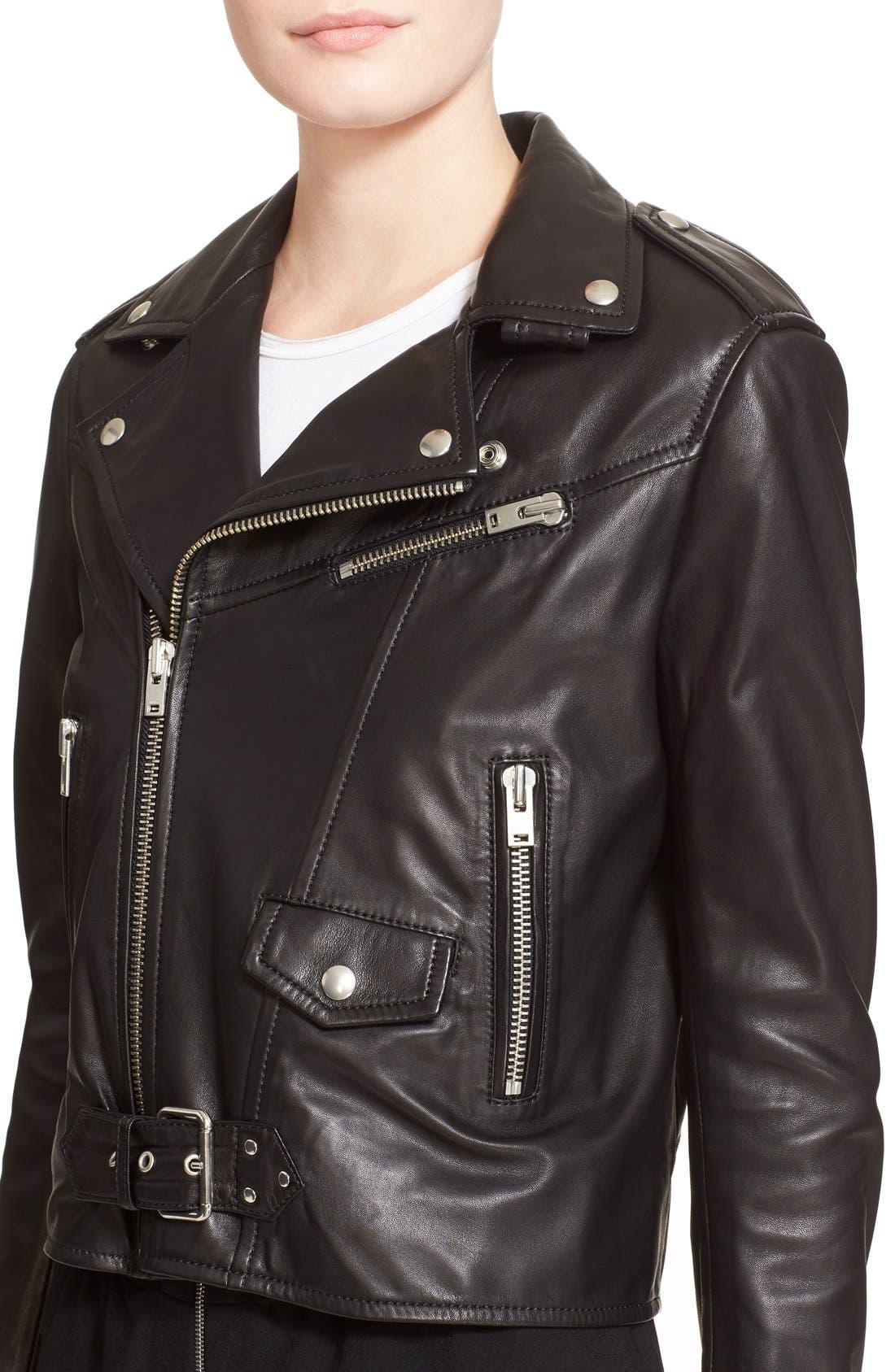 IRO, Lambskin Leather Moto Jacket, Alternate thumbnail 2, color, 001