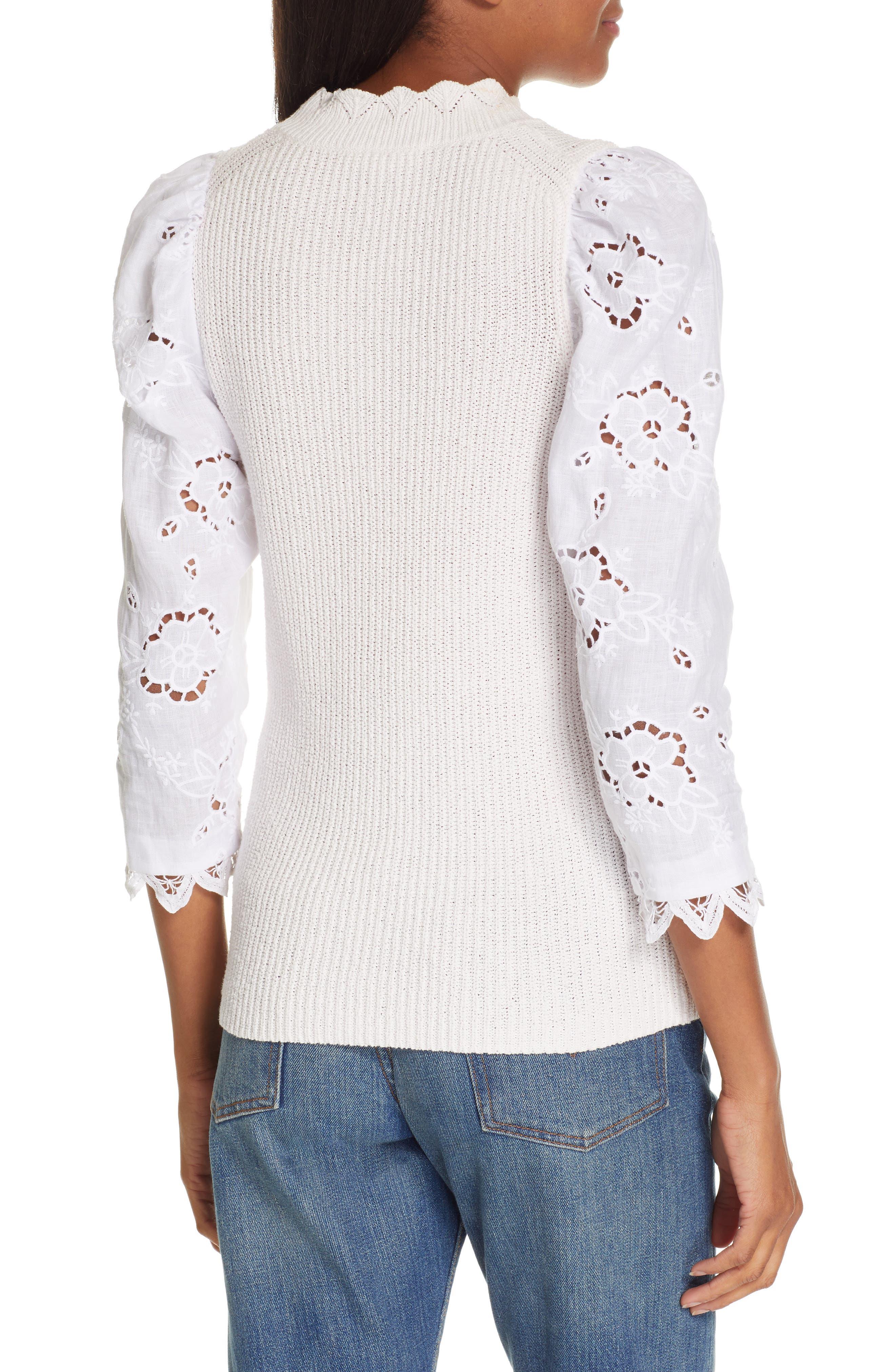 REBECCA TAYLOR, Mix Media Eyelet Sleeve Cotton Sweater, Alternate thumbnail 2, color, WASHED PETAL
