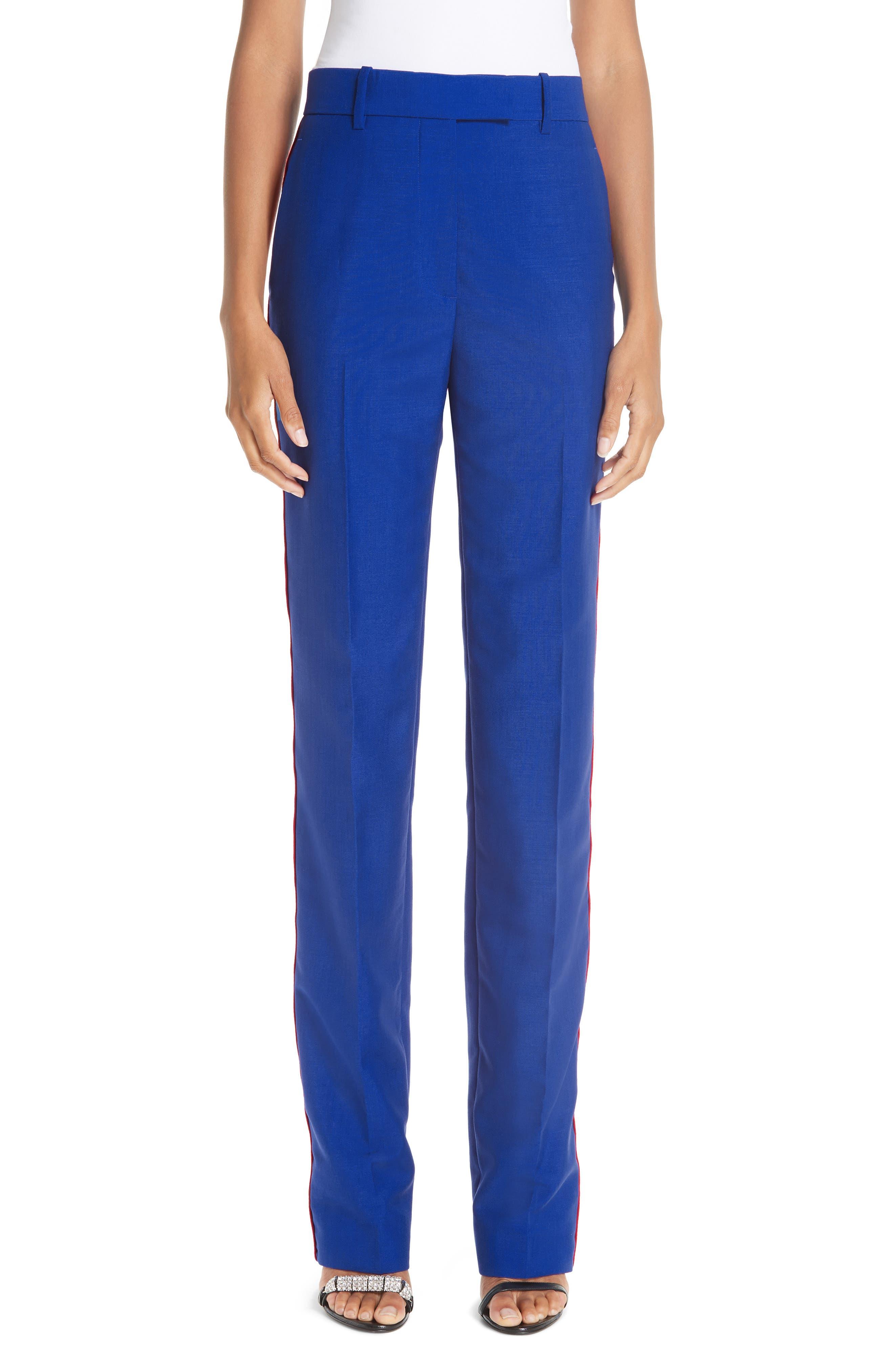 CALVIN KLEIN 205W39NYC, Side Stripe Mohair & Wool Straight Leg Pants, Main thumbnail 1, color, BRIGHT BLUE