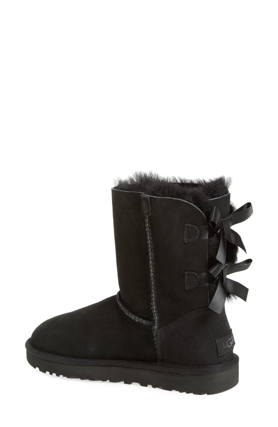 UGG<SUP>®</SUP>, Bailey Bow II Genuine Shearling Boot, Alternate thumbnail 2, color, BLACK SUEDE