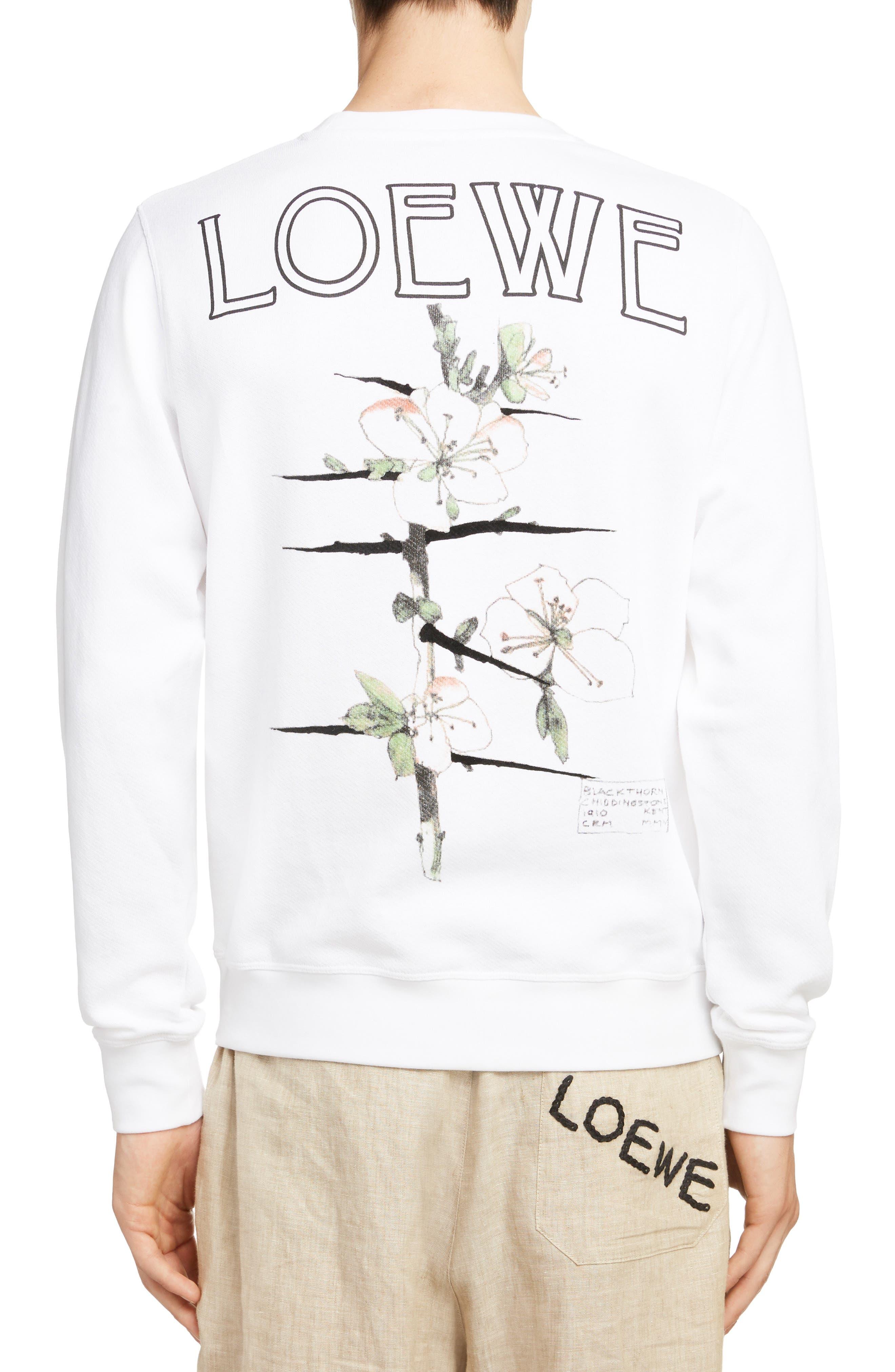 LOEWE, Charles Rennie Mackintosh Collection Botanical Print Sweatshirt, Alternate thumbnail 2, color, 2100-WHITE