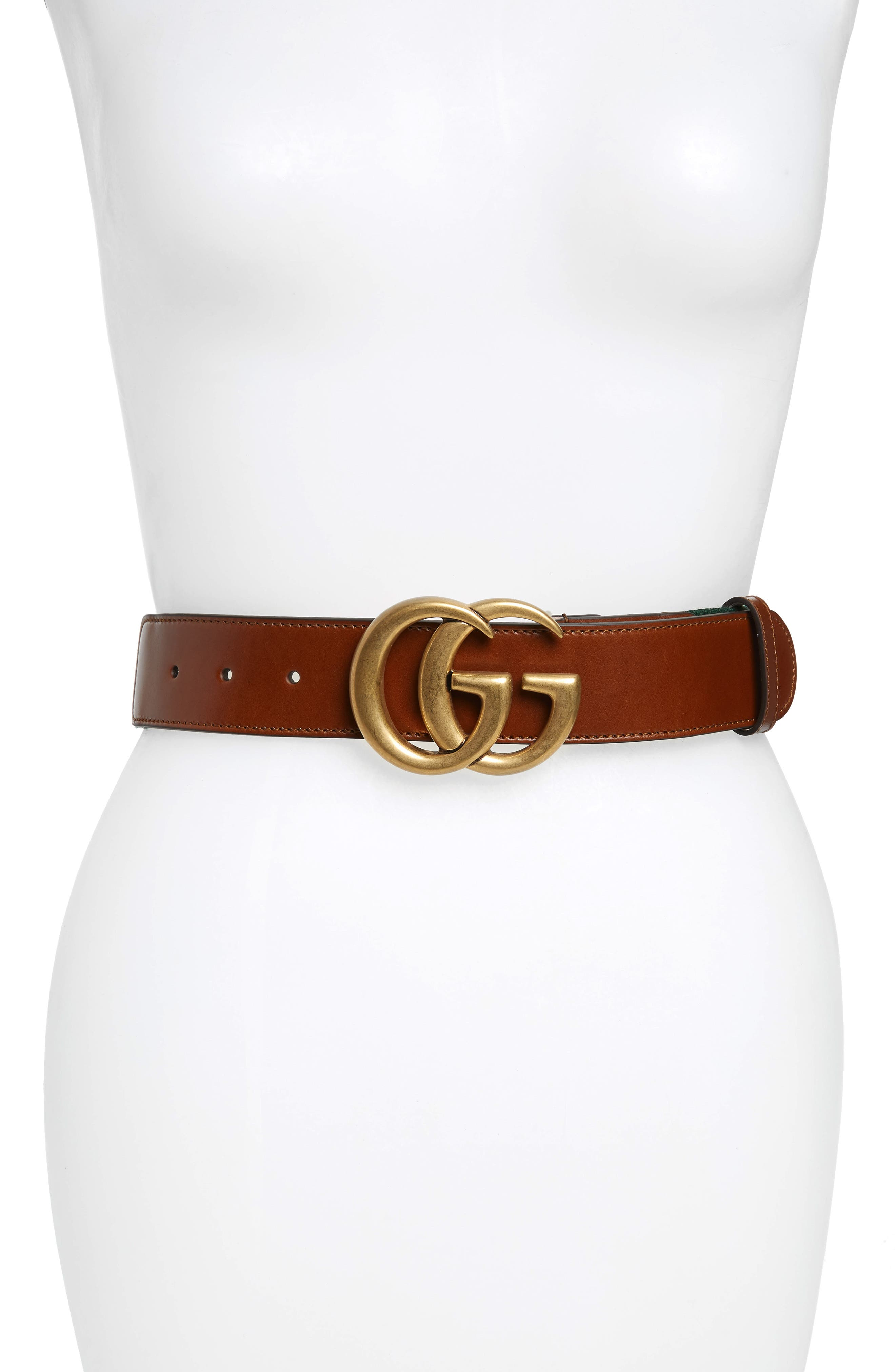 GUCCI GG Logo Leather Belt, Main, color, CUIR/VRV