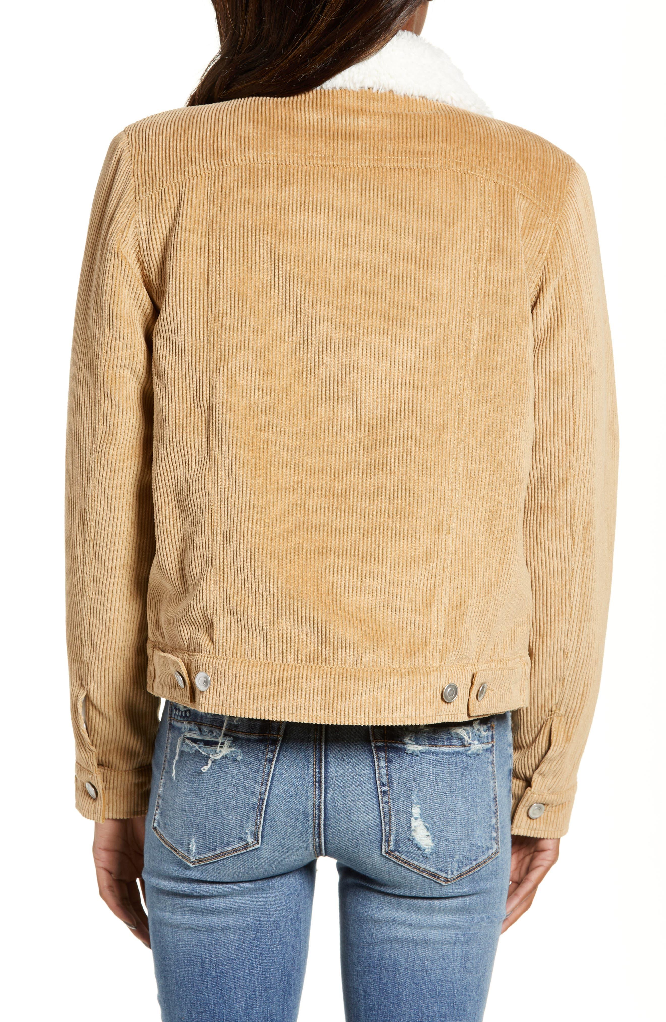 THREAD & SUPPLY, Paddington Fleece Lined Corduroy Jacket, Alternate thumbnail 2, color, KHAKI