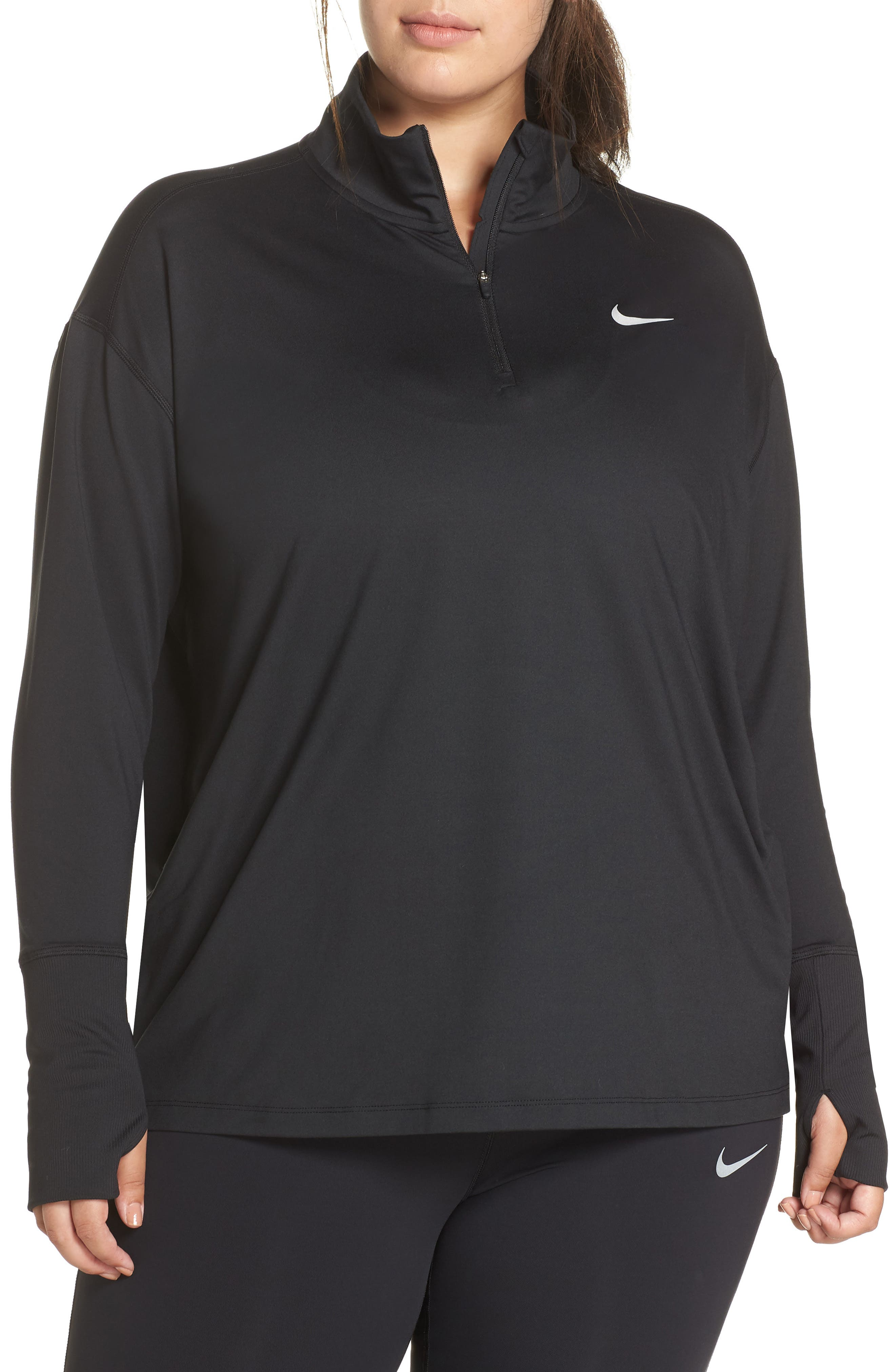 NIKE, Element Long Sleeve Running Top, Main thumbnail 1, color, BLACK