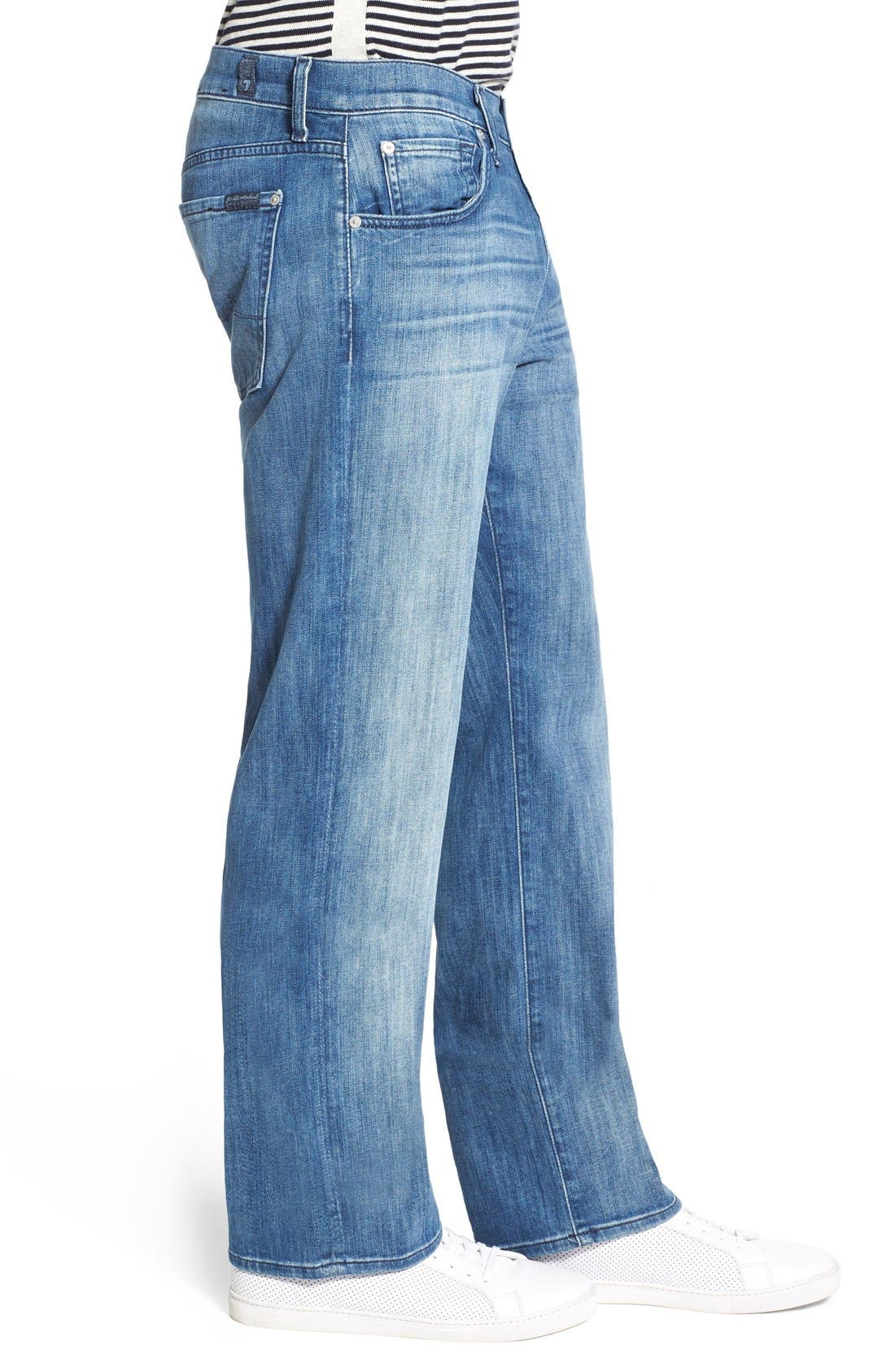 7 FOR ALL MANKIND<SUP>®</SUP>, Luxe Performance - Austyn Relaxed Straight Leg Jeans, Alternate thumbnail 5, color, NAKKITTA BLUE