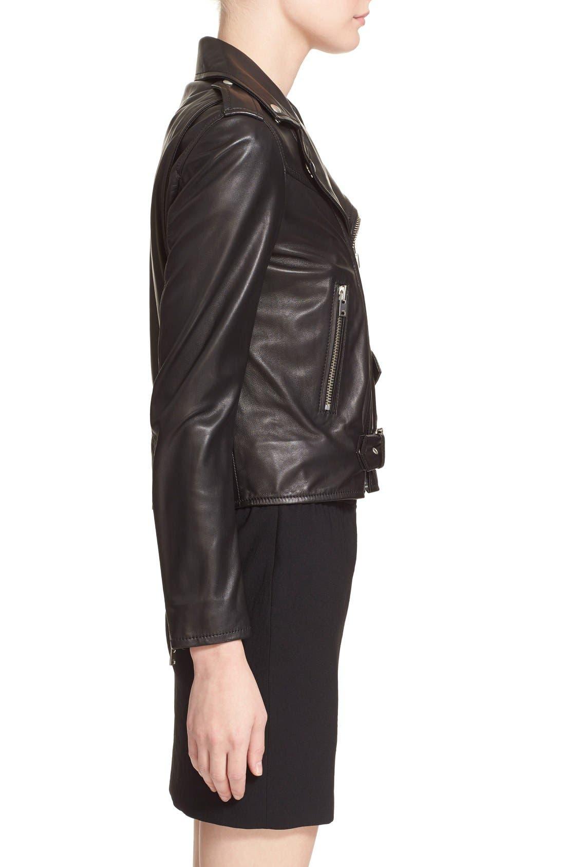 IRO, Lambskin Leather Moto Jacket, Alternate thumbnail 3, color, 001