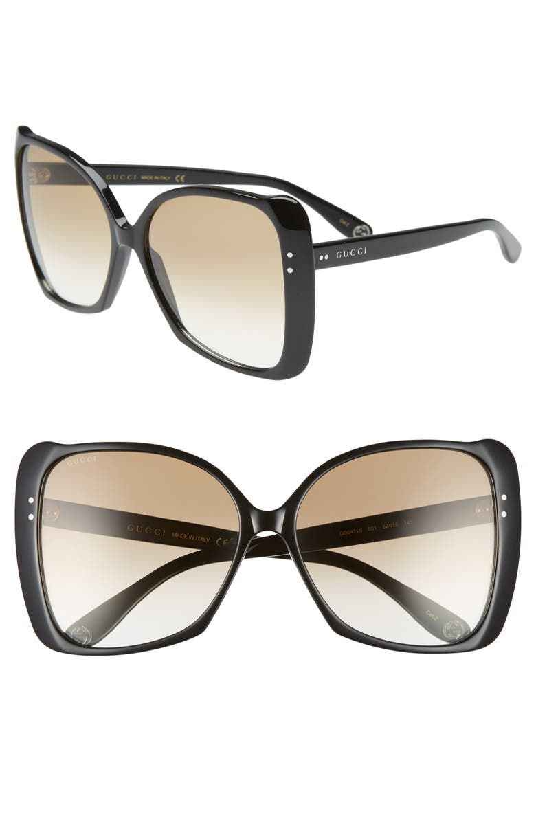 fba049c0017 Gucci 62mm Oversize Butterfly Sunglasses
