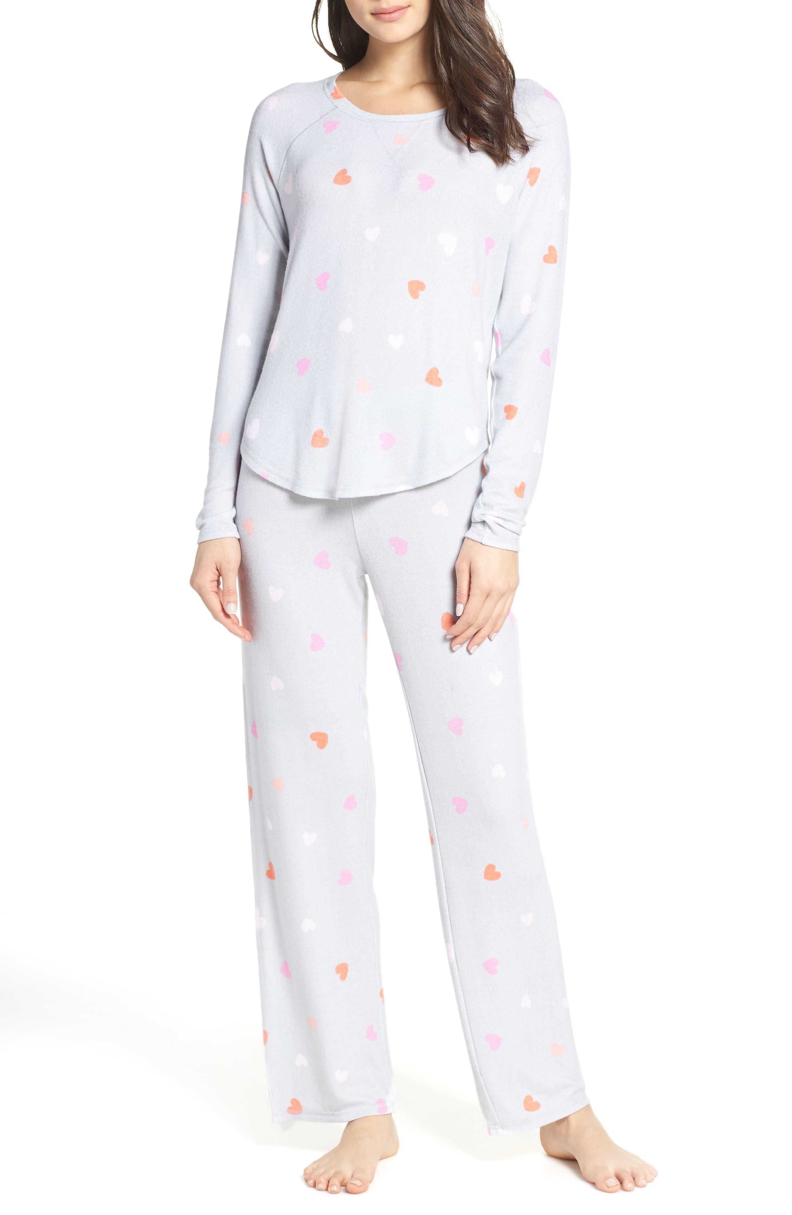 MAKE + MODEL, Knit Girlfriend Pajamas, Main thumbnail 1, color, GREY MICRO HEART