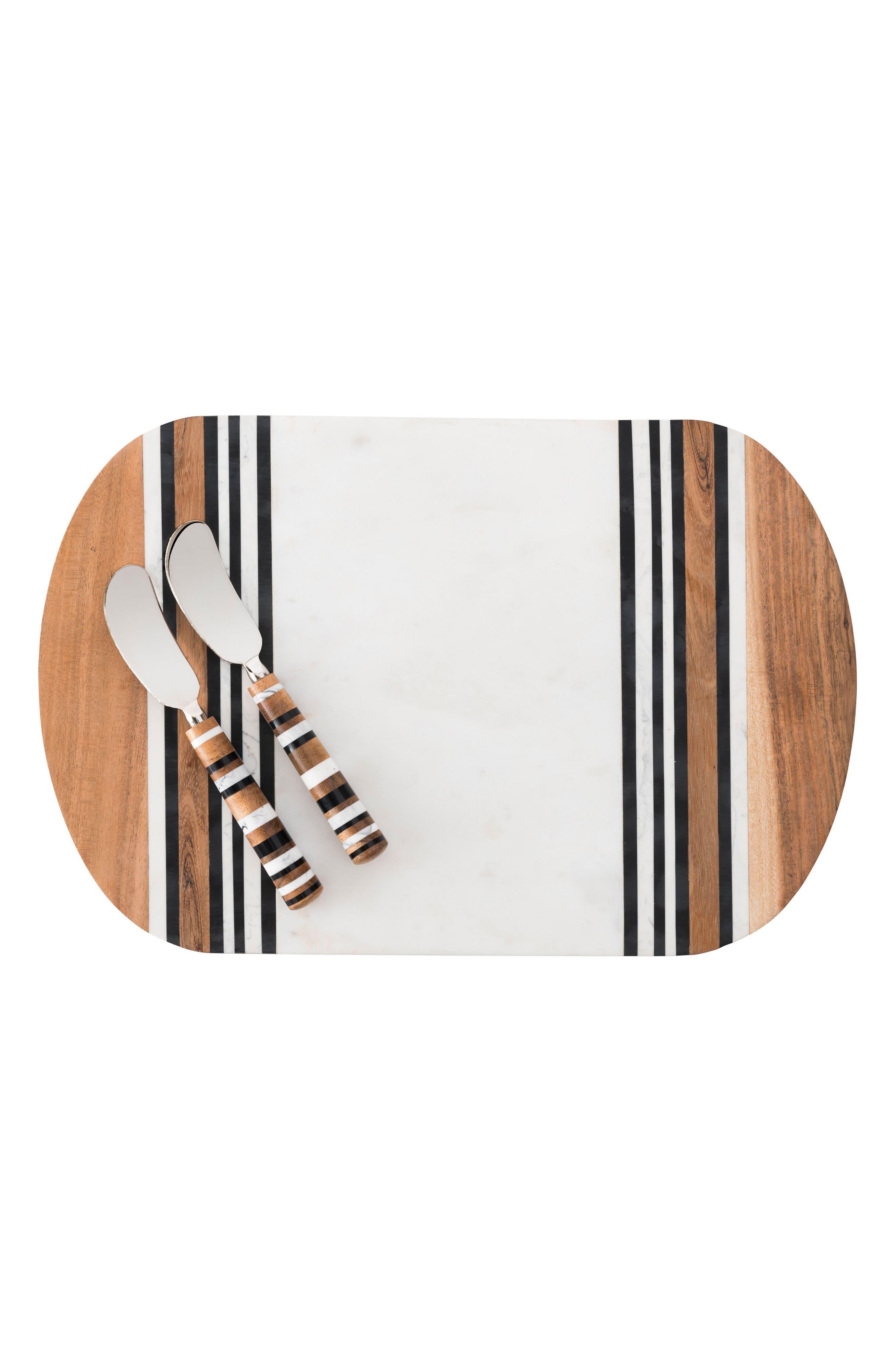 JULISKA Stonewood Stripe Serving Board & Spreaders, Main, color, NATURAL STRIPE