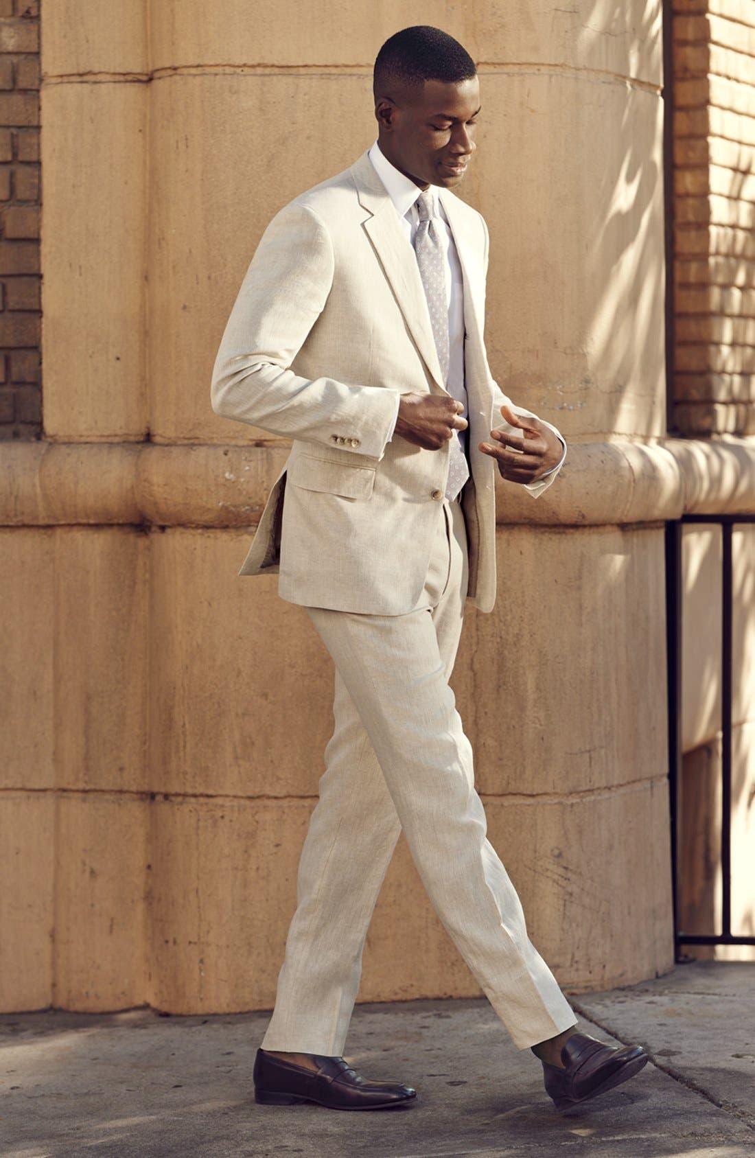 NORDSTROM MEN'S SHOP, Flat Front Slim Leg Linen Trousers, Alternate thumbnail 5, color, 100