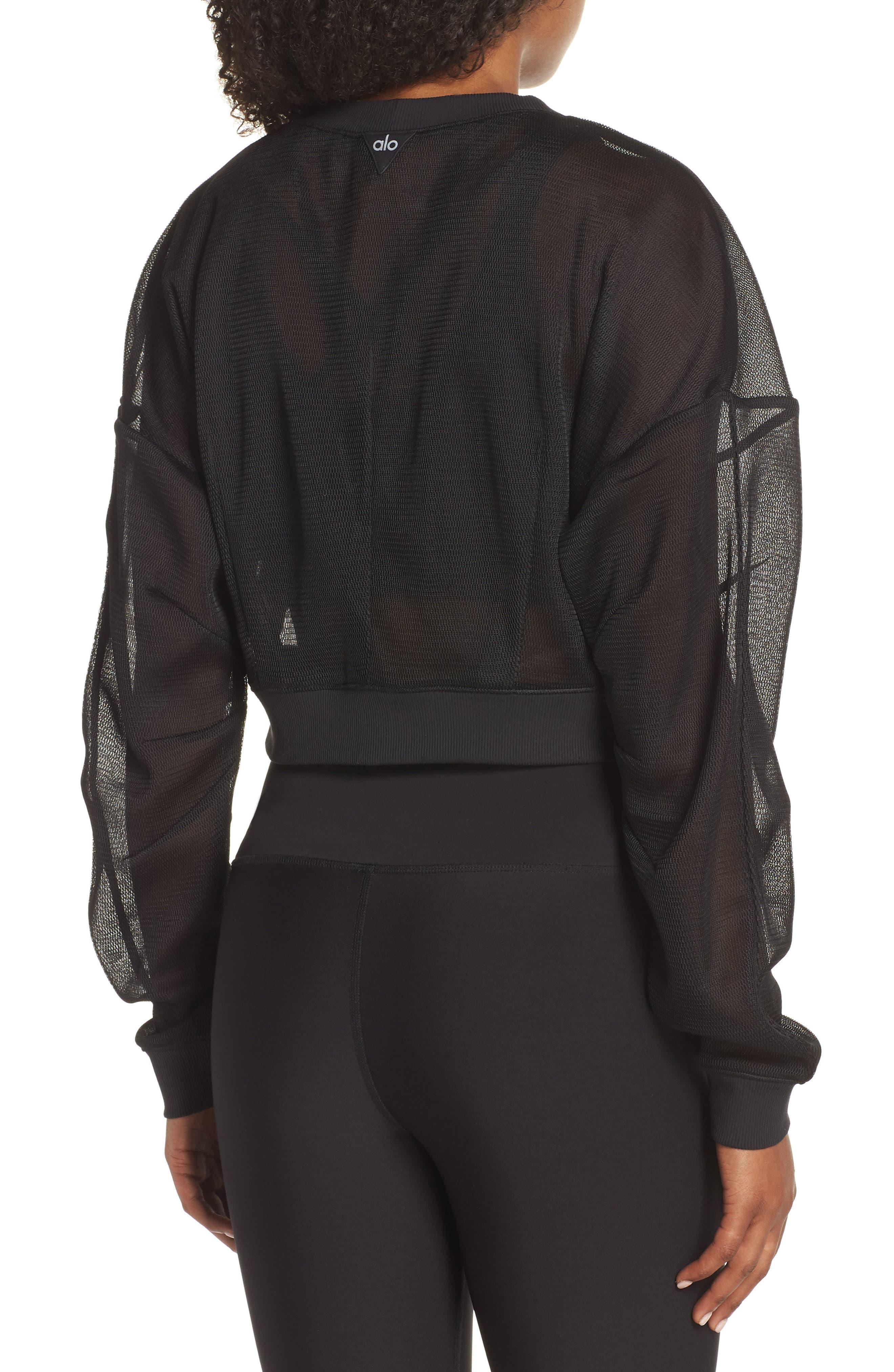ALO, Row Long Sleeve Sweatshirt, Alternate thumbnail 2, color, BLACK