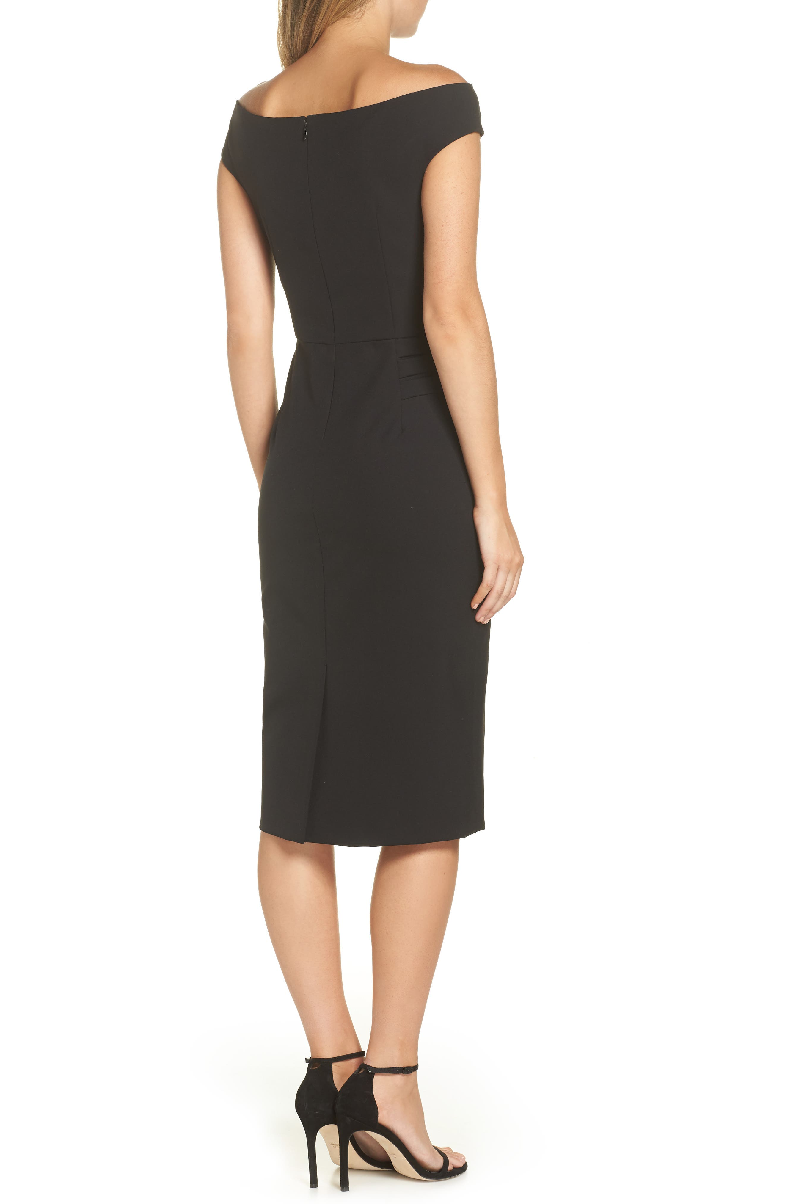 ELIZA J, Off the Shoulder Sheath Dress, Alternate thumbnail 2, color, BLACK