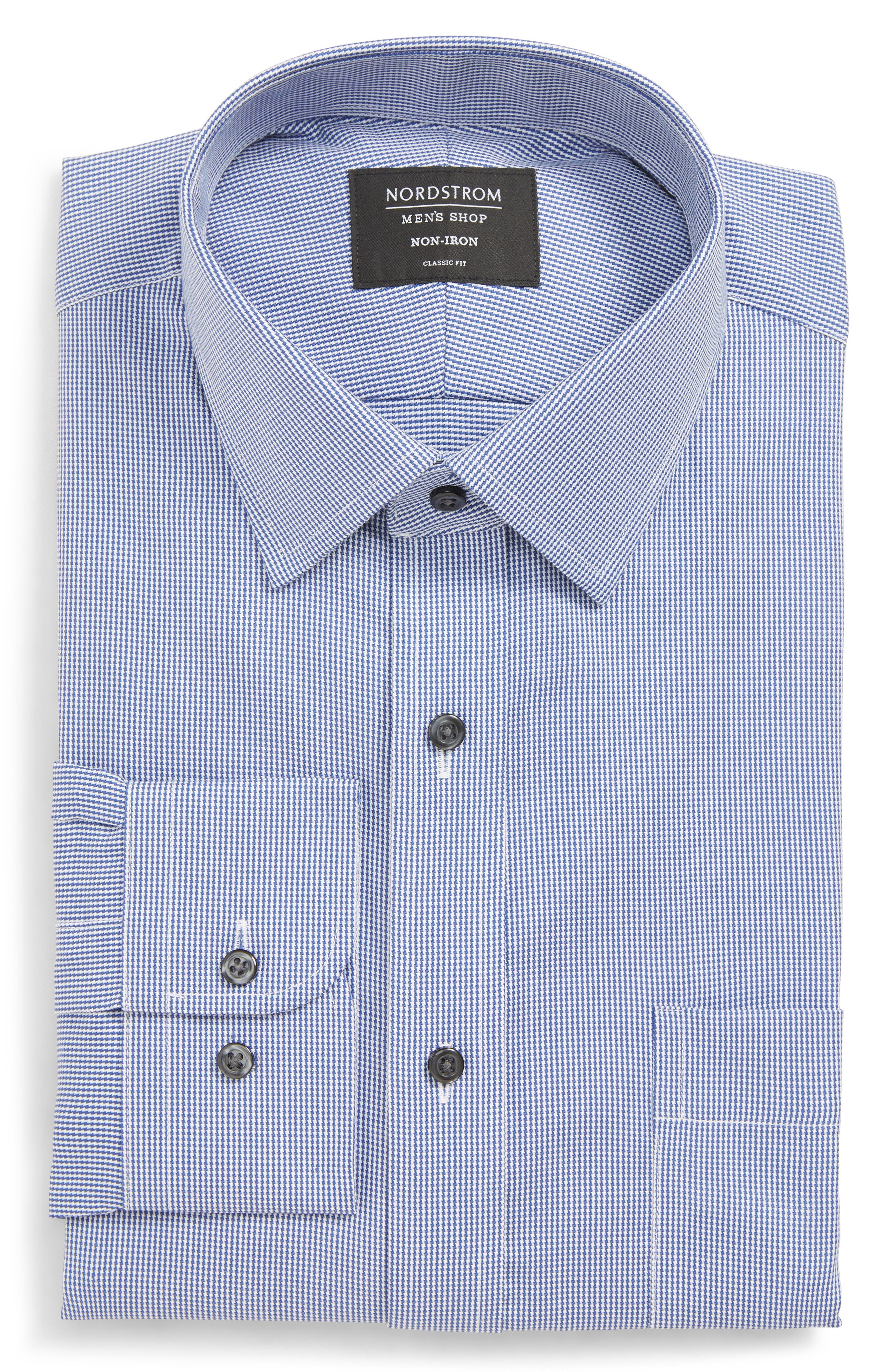 NORDSTROM MEN'S SHOP, Classic Fit Non-Iron Stripe Dress Shirt, Main thumbnail 1, color, NAVY DRESS
