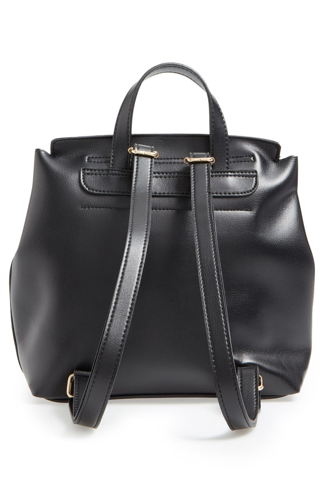 BP., 'Minimal Flap' Faux Leather Backpack, Alternate thumbnail 2, color, 001