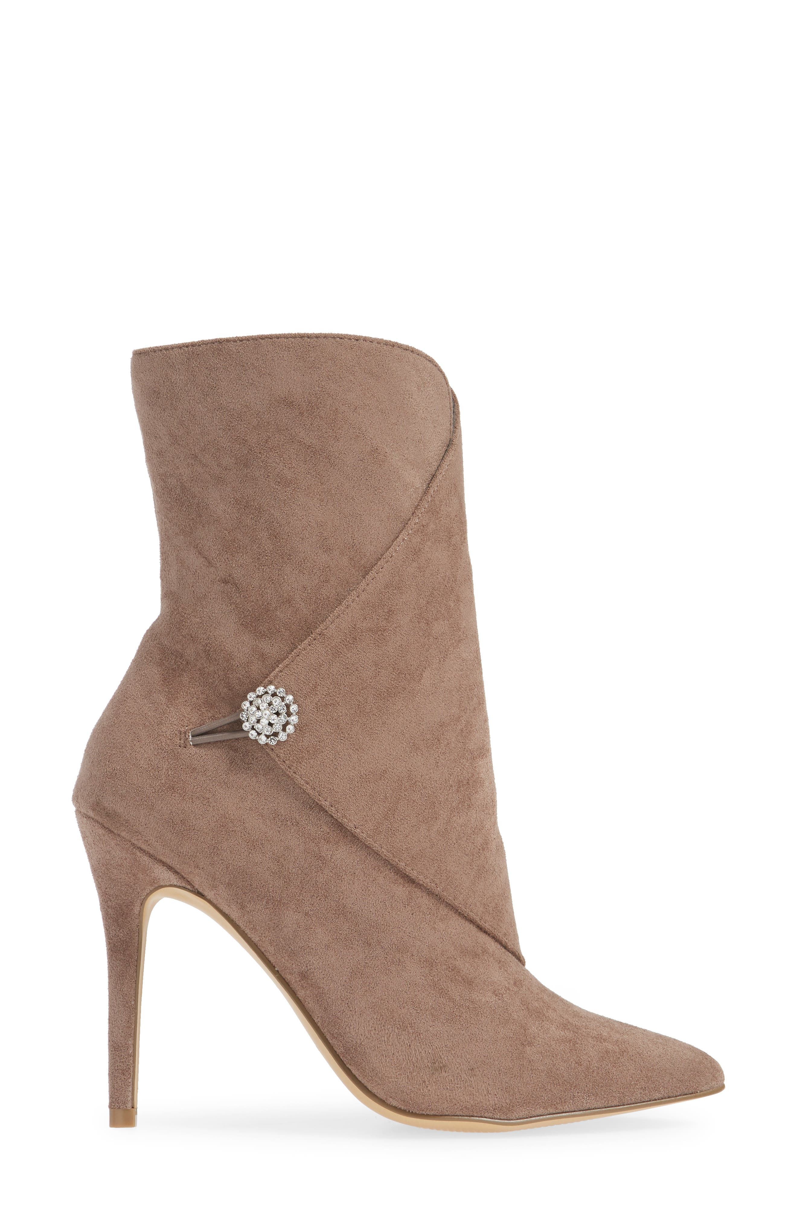 CHARLES BY CHARLES DAVID, Pistol Crystal Embellished Pointy Toe Bootie, Alternate thumbnail 3, color, TAUPE SUEDE