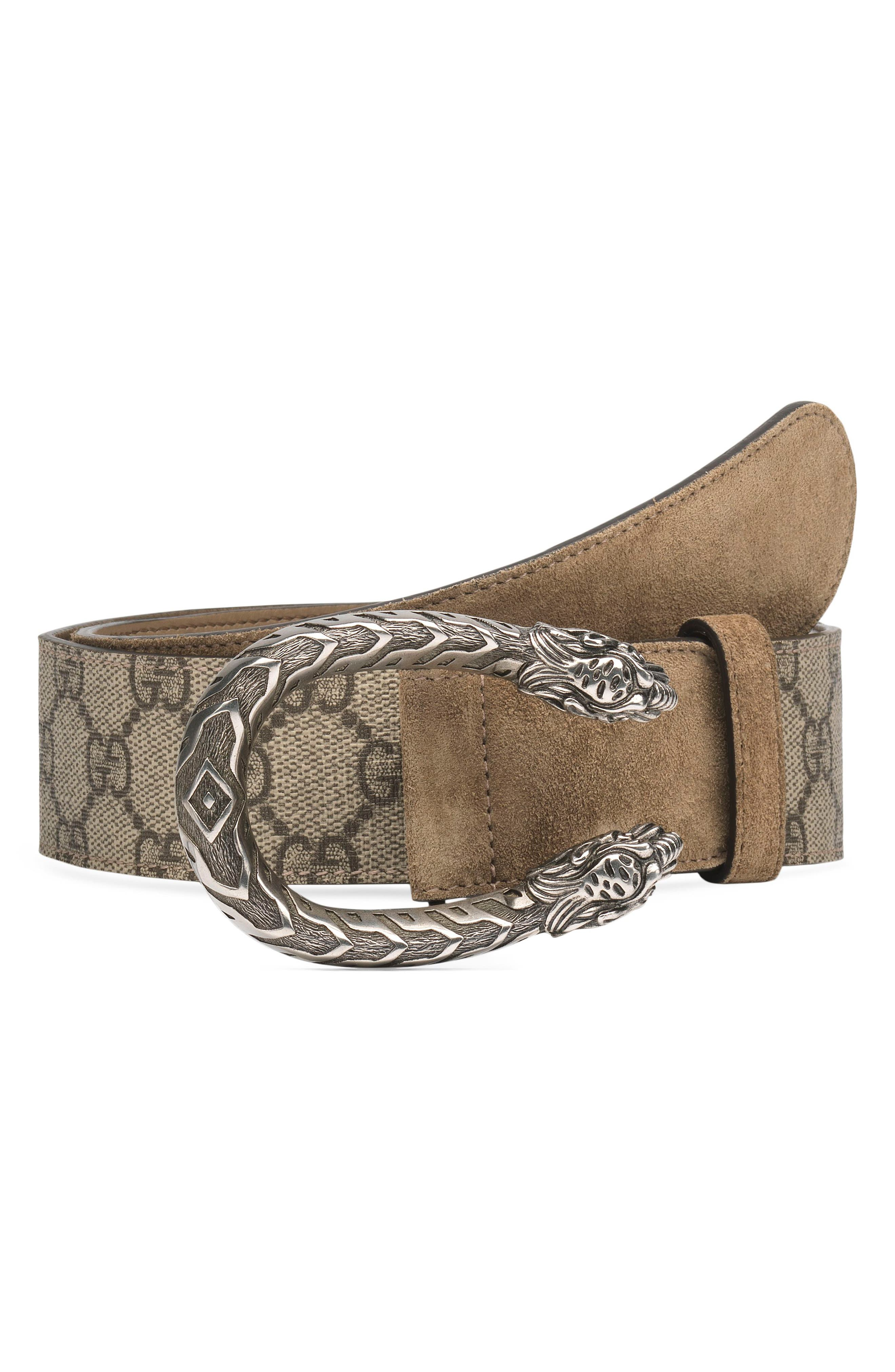 GUCCI, GG Supreme Tiger Head Spur Buckle Belt, Main thumbnail 1, color, EBONY/ TAUPE