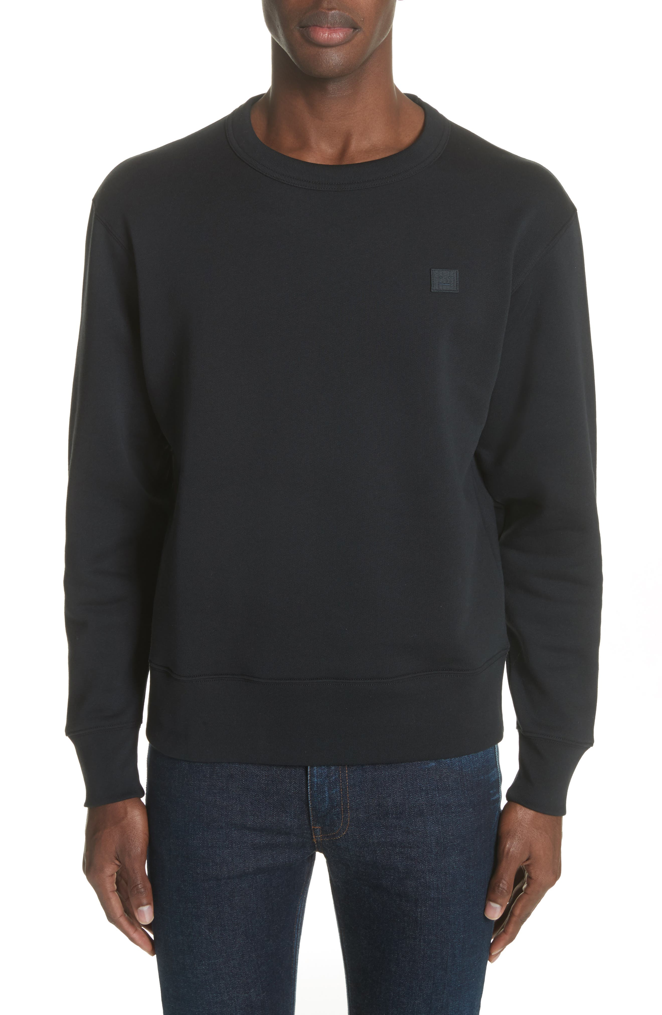 ACNE STUDIOS, Fairview Face Crewneck Sweatshirt, Main thumbnail 1, color, BLACK