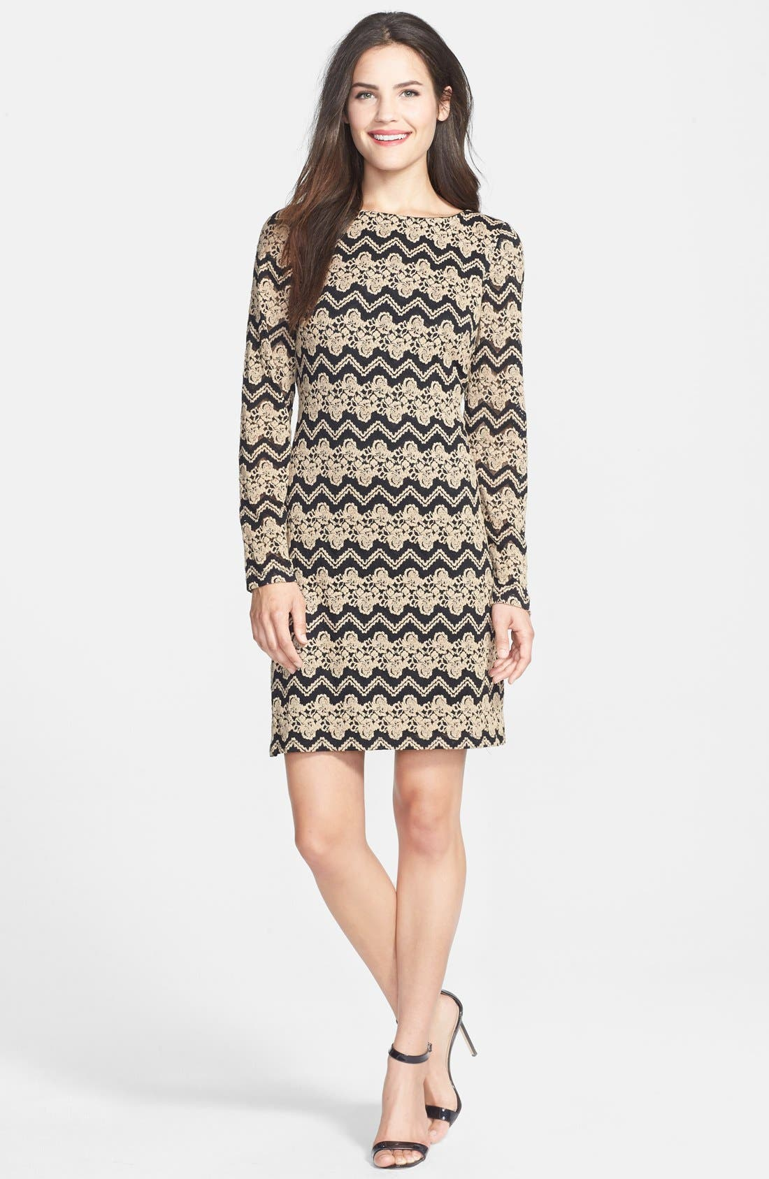 ELIZA J, Chevron Lace Shift Dress, Alternate thumbnail 4, color, 001