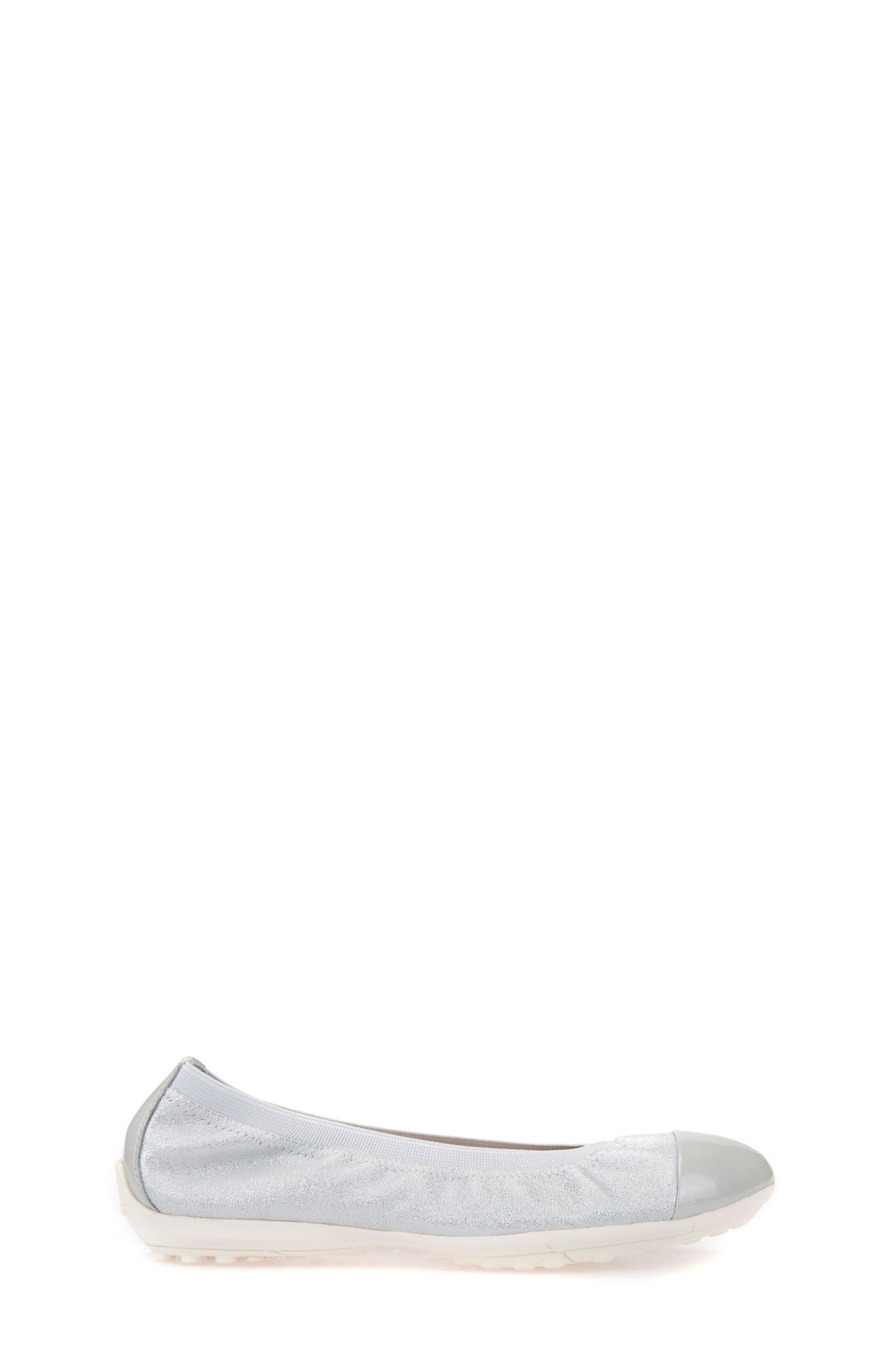 GEOX, Piuma Cap Toe Glitter Ballerina Flat, Alternate thumbnail 3, color, PEARL