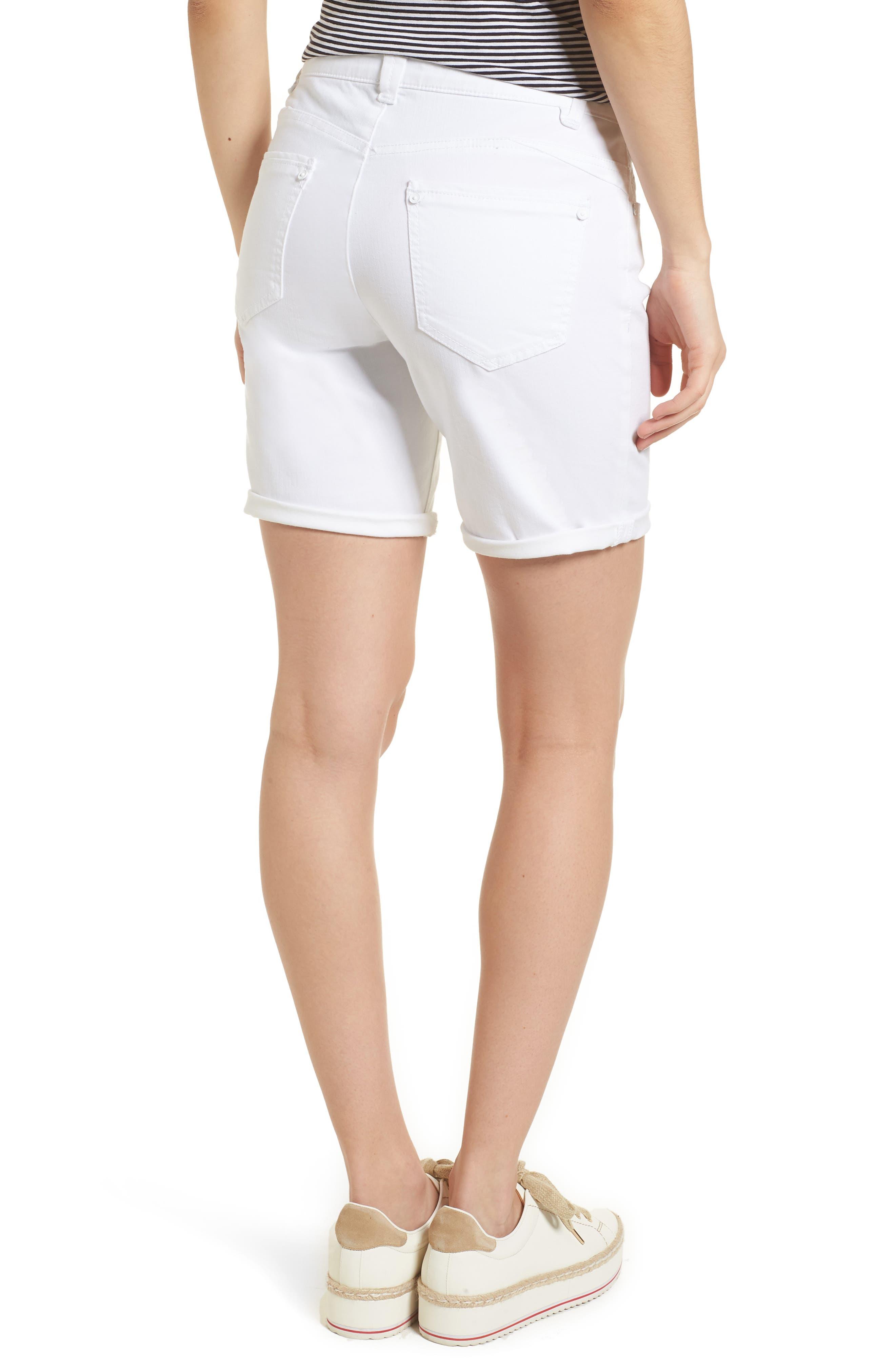 WIT & WISDOM, Ab-Solution White Denim Shorts, Alternate thumbnail 2, color, OPTIC WHITE